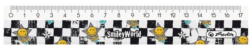 Herlitz Линейка Smiley World 17 см11234382Пластиковая линейка от Herlitz Smiley Wolrd с делениями на 17 см изготовлена из пластика и устойчива к деформациям. Она обладает четкой миллиметровой шкалой делений и удобна для измерения длины или черчения. Линейка Herlitz Smiley Wolrd - это незаменимый атрибут любого студента или школьника. Получите ежедневную дозу Рок н ролла с новой дизайнерской серией Smiley World! Клевые и прикольные смайлы, «шахматный» дизайн, а также различные детали рок-культуры, такие как гитары или розы, стилизованные под тату, привлекут внимание любого подростка, особенно в школе.