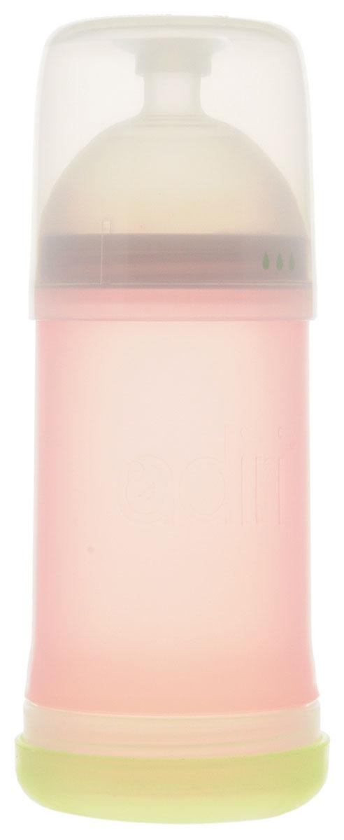Adiri Бутылочка для кормления NxGen Nurser от 6 до 9 месяцев 281 млAD002PK-1965C_розовыйБутылочка для кормления Adiri NxGen Nurser предназначена для детей в возрасте от 6 до 9 месяцев. Бутылочка разработана с учетом рекомендаций специалистов-практиков, ученых, специалистов по грудному вскармливанию и, самое главное, мам. Уникальная форма позволяет комбинировать вскармливание грудью и кормление из бутылочки на протяжении всего периода грудного вскармливания. Даже в том случае, если мама решит перейти к кормлению только из бутылочки, то с бутылочкой Adiri для малыша переход станет почти незаметен. Бутылочка разделяется на три части, каждую из которых очень удобно мыть. Специально сконструированная мягкая соска со средним потоком изготовлена из медицинского силикона, которая идеально подходит по форме и размеру и обеспечивает ощущение материнской груди. Вентиляционная система снизу бутылочки напоминает по форме лепесток и обеспечивает одностороннюю последовательную подачу воздуха внутрь бутылочки, предотвращая возникновение колик. Для...
