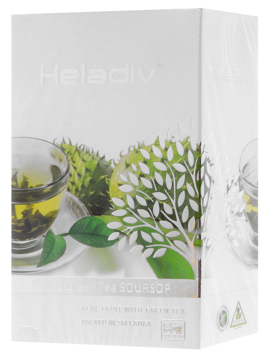 Heladiv Pekoe Green Soursop чай зеленый с саусепом листовой, 100 г4791007009382Зеленый крупнолистовой чай Heladiv Pekoe Green Soursop с добавлением экзотического фрукта саусеп. Ярко выраженный золотистый настой напитка с особым утонченным вкусом и восхитительным ароматом саусепа дарит ощущение свежести и бодрости в течении всего дня.