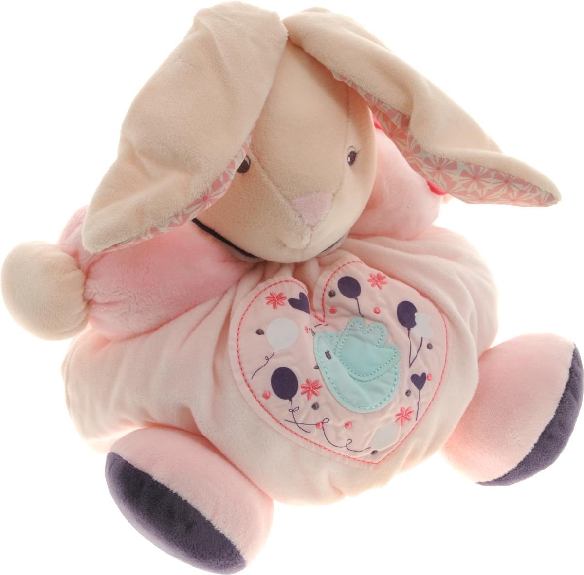 Kaloo Мягкая игрушка Заяц Птичка 23 смK969857Милый мягкий зайчик нежно-розового цвета Kaloo привлечет внимание малыша и надолго станет его постоянным спутником и любимой игрушкой. Зайчик выполнен из нескольких видов ткани, что прекрасно будет развивать тактильные ощущения малыша. На левой лапке у зайчика сидит маленькая бабочка, животик украшен красивой аппликацией с птичкой. Внутри игрушки находится погремушка, которая успокоит малыша и привлечет его внимание. Игры с мягкими игрушками развивают тактильную чувствительность и сенсорное восприятие. Игрушка поставляется в стильной коробке и идеально подходит в качестве подарка.