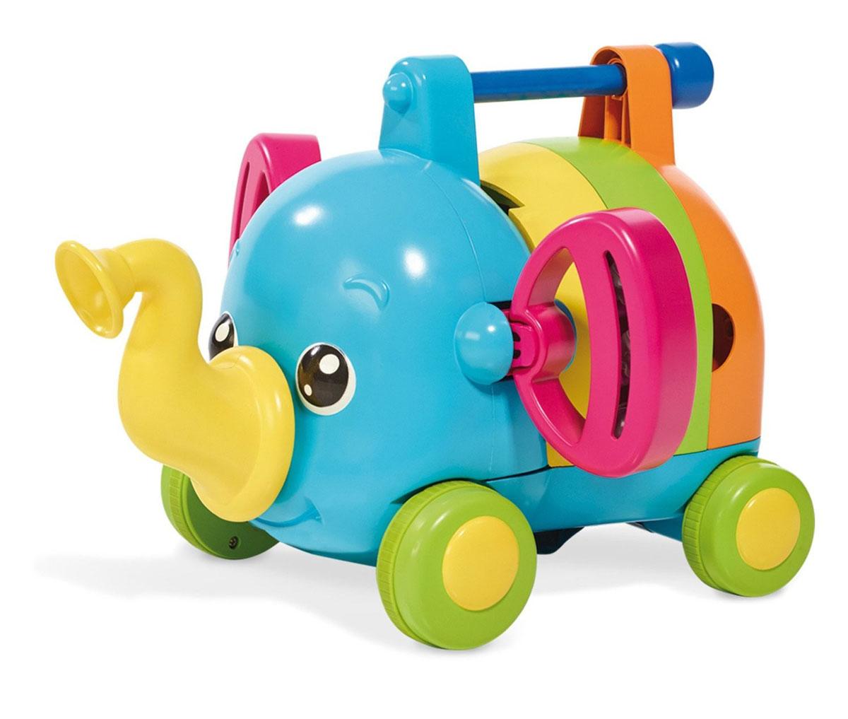 Tomy Развивающая игрушка Слоненок-оркестрE72377Развивающая игрушка Tomy Слоненок-оркестр непременно понравится вашему малышу. Эта оригинальная и интересная игрушка не только развлечет ребенка, но и поможет развить музыкальный слух. Забавный разноцветный слоник состоит из пяти музыкальных инструментов - ксилофона, губной гармошки, рога, барабана и колокольчиков, которые могут использоваться ребенком по отдельности. Кроме того, в собранном виде слоненок сам играет на инструментах во время движения! Игрушка выполнена из высококачественных материалов, безопасных для детского здоровья, окрашена в яркие привлекательные для детей цвета.