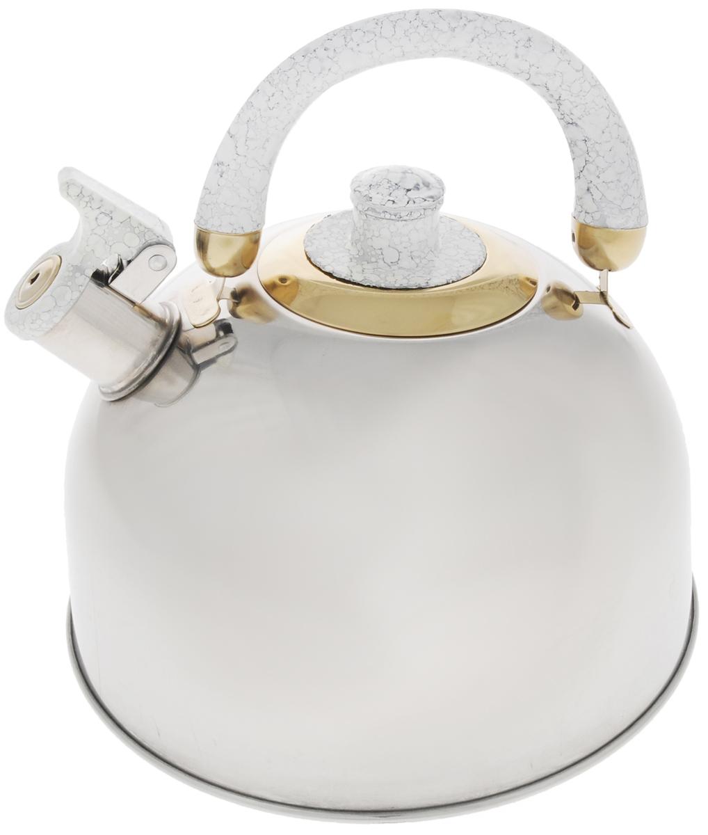 Чайник Mayer & Boch, со свистком, цвет: серый, 3,5 л. 10691069А_серыйЧайник Mayer & Boch изготовлен из высококачественной нержавеющей стали, что делает его весьма гигиеничным и устойчивым к износу при длительном использовании. Утолщенное дно обеспечивает равномерный и быстрый нагрев, поэтому вода закипает гораздо быстрее, чем в обычных чайниках. Чайник оснащен откидным свистком, звуковой сигнал которого подскажет, когда закипит вода. Подвижная ручка из бакелита дает дополнительное удобство при разлитии напитка. Чайник Mayer & Boch идеально впишется в интерьер любой кухни и станет замечательным подарком к любому случаю. Подходит для газовых, стеклокерамических, галогеновых и электрических плит. Не подходит для индукционных. Можно мыть в посудомоечной машине. Высота чайника (без учета ручки и крышки): 13 см. Высота чайника (с учетом ручки и крышки): 21,5 см. Диаметр чайника (по верхнему краю): 8,5 см.