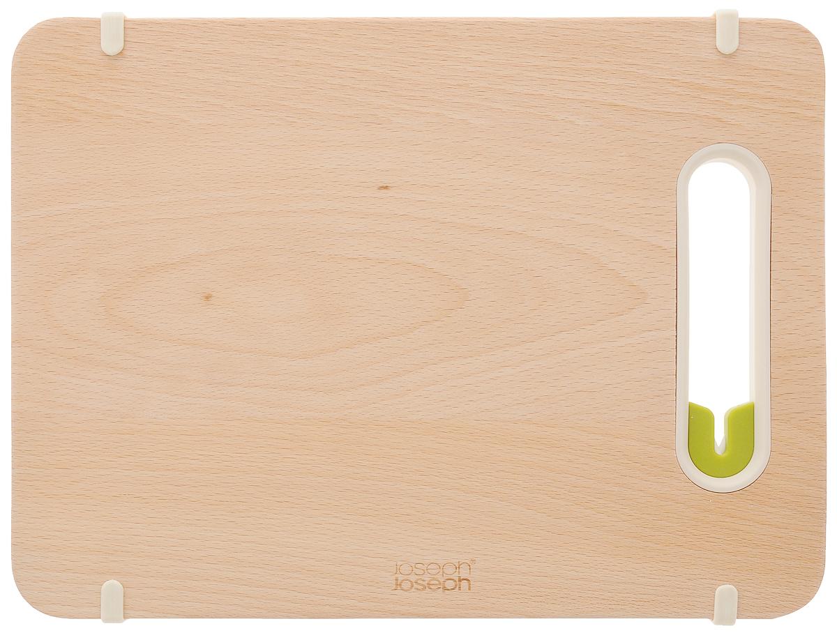 Доска разделочная Joseph Joseph Slice & Sharpen, с ножеточкой, 29,5 х 22 х 1,7 см60070Доска разделочная Joseph Joseph Slice & Sharpen - это инновационное изделие, выполненное из высококачественной древесины бука, позволит затачивать ножи быстро и просто прямо перед готовкой. Керамическая точилка для лезвия встроена прямо в рабочую поверхность. Нескользящий край доски обеспечивает устойчивость как при нарезке продуктов, так и при заточке лезвия. Для заточки поставьте доску на сухую плоскую поверхность, поместить лезвие ножа в прорезь и проведите 3-4 раза туда и обратно. Можно мыть в посудомоечной машине.