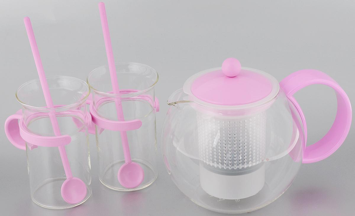 Набор чайный Bodum Assam, цвет: прозрачный, розовый, 5 предметовAK1844-XY-70piЧайный набор Bodum Assam состоит из двух кружек, двух ложек и заварочного чайника с прессом. Изделия выполнены из высококачественного стекла и пластика. Элегантный дизайн набора придется по вкусу и ценителям классики, и тем, кто предпочитает утонченность и изысканность. Он настроит на позитивный лад и подарит хорошее настроение с самого утра. Чайный набор Bodum Assam идеально подойдет для сервировки стола и станет отличным подарком к любому празднику. Можно мыть в посудомоечной машине. Объем кружки: 300 мл. Диаметр кружки (по верхнему краю): 7,5 см. Высота кружки: 12 см. Объем чайника: 1 л. Диаметр чайника (по верхнему краю): 9 см. Высота чайника (без учета крышки): 12,5 см. Длина ложки: 20 см.