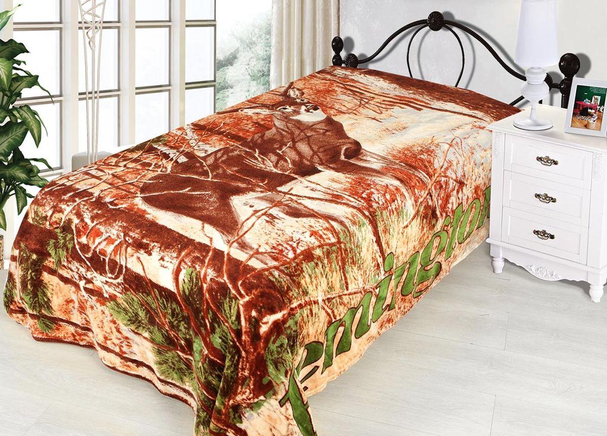 Плед ТД Текстиль Absolute, печатный, 180 х 230 см, цвет: желтый, коричневый86037плотность 240 гр/м2