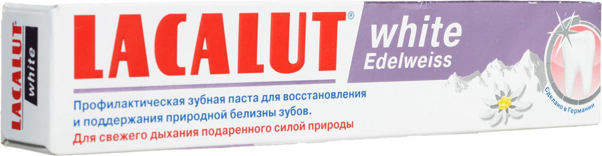 Lacalut Зубная паста White Edelweiss, 75 мл159801263Зубная паста Lacalut White Edelweiss - деликатное удаление окрашенного зубного налета. Целебная сила Эдельвейса альпийского (антисептическое, противовоспалительное, заживляющее вяжущее, обезболивающее, антиоксидантное действие). Выраженное антисептическое и противовоспалительное действие манжетки обыкновенной и вербены лимонной. Для естественной белизны зубов. Характеристики: Объем: 75 мл. Артикул: 666038. Производитель: Германия. Товар сертифицирован.