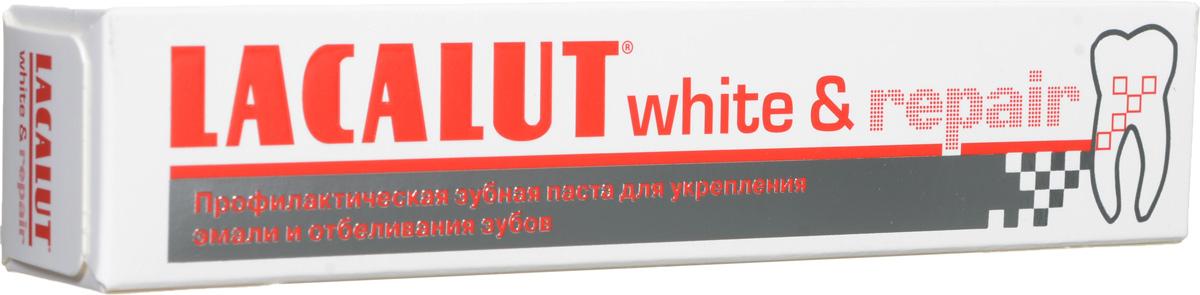 Lacalut Зубная паста White & Repair, 50 мл159800612Зубная паста Lacalut White & Repair для эффективного отбеливания зубов и безопасного восстановления эмали. Гидроксиапатит встраивается в поверхностные слои эмали, обеспечивая быструю репарацию и реминерализацию. Восстанавливает природную белизну зубов. Снижает повышенную чувствительность.