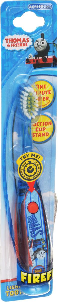 Roxy-kids Зубная щетка Паровозик Томас со световым таймером66-00-66966-1Зубная щетка Паровозик Томас поможет вашему ребенку превратить чистку зубов в увлекательное занятие. Щетка снабжена мигающим таймером (1 минута). Нажмите на кнопку и лампочка начнет мигать. Через 1 минуту лампочка автоматически выключится. 1 минута - время рекомендованное стоматологами для чистки одного ряда зубов таймер приучает детей к привычке чистить зубы не менее 1 минуты и превращает чистку зубов в интересное занятие. Мягкая щетина. Батарейка в комплекте. Батарейка рассчитана на срок службы 2-3 месяца (время, рекомендованное стоматологами для замены щетки). Замена батарейки не предусмотрена. Предназначена для детей от 3-х лет. Товар сертифицирован.