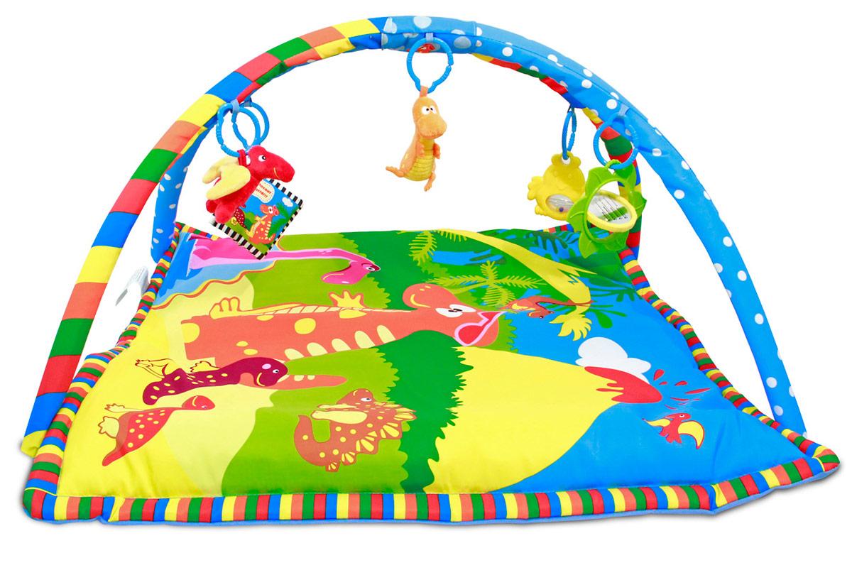 Ути-Пути Развивающий коврик Динозаврик42239Детский развивающий коврик Динозаврик.Современным родителям известно, что развивать ребенка нужно с первых лет жизни. Именно поэтому все большую популярность среди современных мам и пап завоевывают детские развивающие коврики. Они позволяют не только увлечь ребенка интересной игрой, но и развить моторику, учат детей различать формы и цвета и выполняют множество других функций. Особенности набора: яркий, мягкий коврик; две съемные дуги; 5 подвесных игрушек: забавный птерозавр, мягкий динозаврик-погремушка, мягкая книжка, цыпленок с гремящими шариками внутри, цветок с вращающимся зеркальцем. Детские коврики помогают создать уникальную среду, в которой ребенок может веселиться и развиваться.
