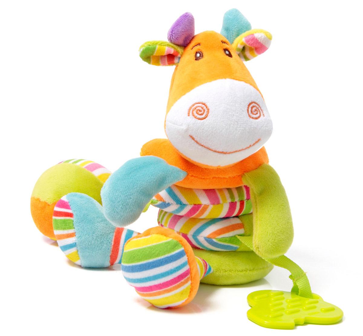 Ути-Пути Развивающая игрушка Жираф43234Игрушки «Ути-пути» несут развлекательный и обучающий характер. Они учат малыша взаимодействовать с окружающим миром, знакомят со свойствами разных предметов, помогают развивать основные рефлексы (внимание, моторику рук, цветовое восприятие). Развивающая игрушка пружина Жираф с прорезывателем, гремящими шариками внутри головы и пищалкой в мячике, при оттягивании вниз возвращается в исходное положение. Игрушка привлекает внимание и способствует развитию зрения и тактильного восприятия малыша.