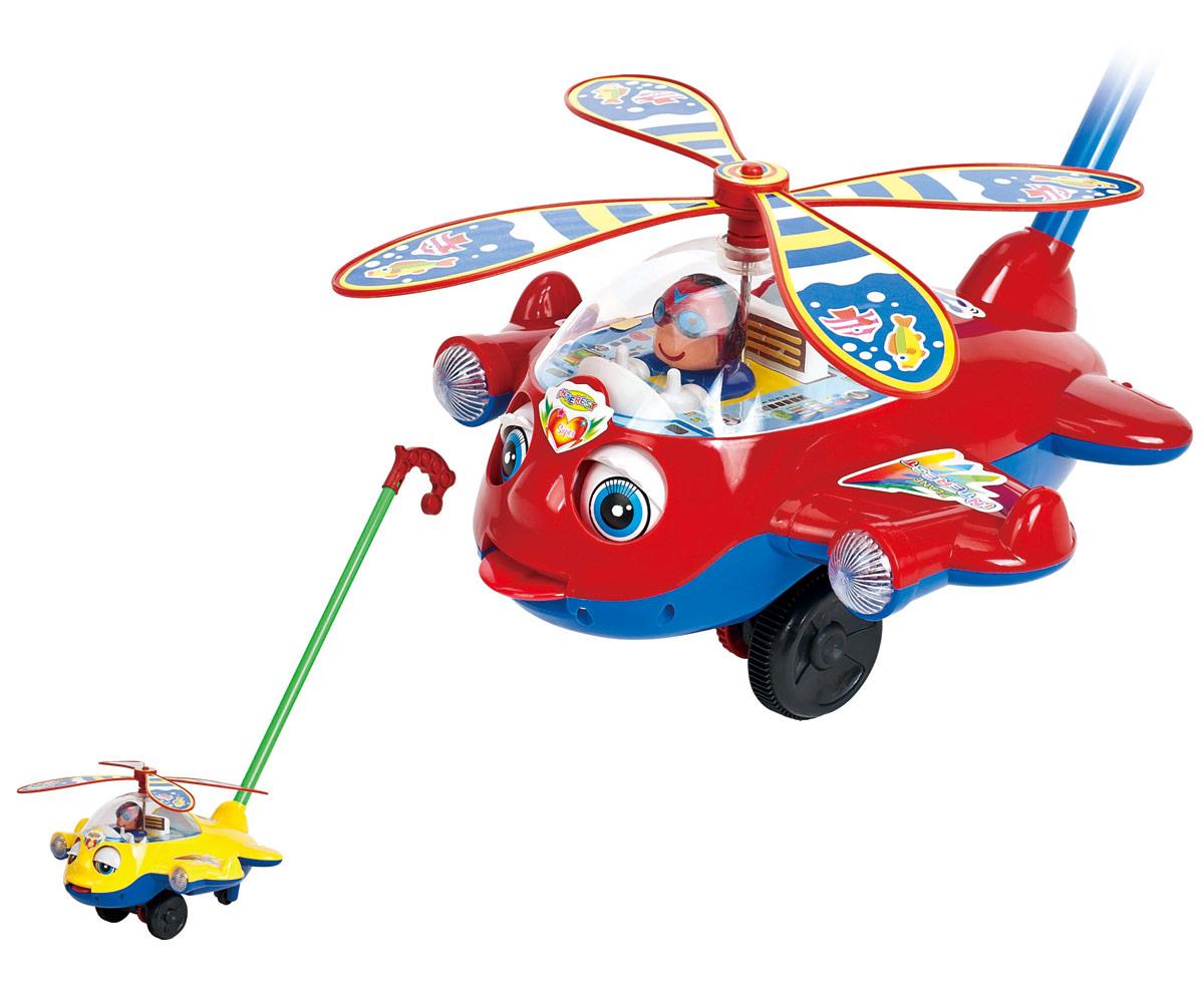 Ami&Co Игрушка-каталка Вертолет44409Яркий и веселый вертолетик. Ребенок катает игрушку по полу - вертолет закрывает и открывает глазки, высовывая язык, пропеллер вращается по кругу. При катании игрушка издает звук колокольчика. Палка (сборная) вставляется в игрушку. Детская складная каталка предназначена для малышей, которые уже начали ходить самостоятельно. Яркие, забавные образы принесут радость и веселье во время игр. Гремящие, шуршащие элементы развлекут вашего малыша. Модель поможет развить координацию движения, тактильные навыки и мелкую моторику рук ребенка, а издаваемые ею звуки активно стимулируют его слух.