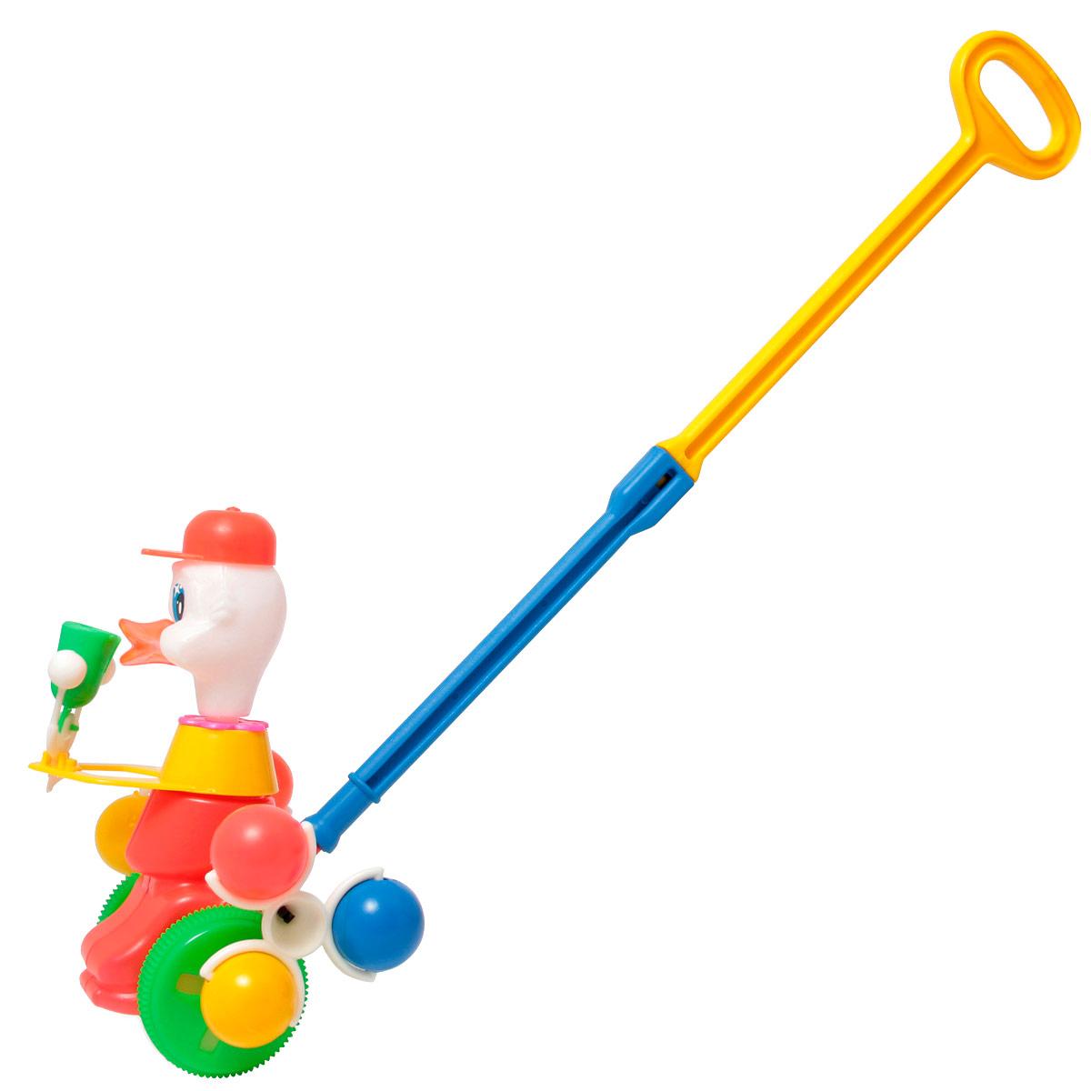 Игрушка-каталка Утка со звонкомП-0171Игрушка-каталка с ручкой для детей 1-3 лет. Развивает наглядно-действенное мышление, координацию движений, стимулирует двигательную активность. Для малышей, начинающих ходить, каталка - незаменимый помощник в этом нелегком деле.