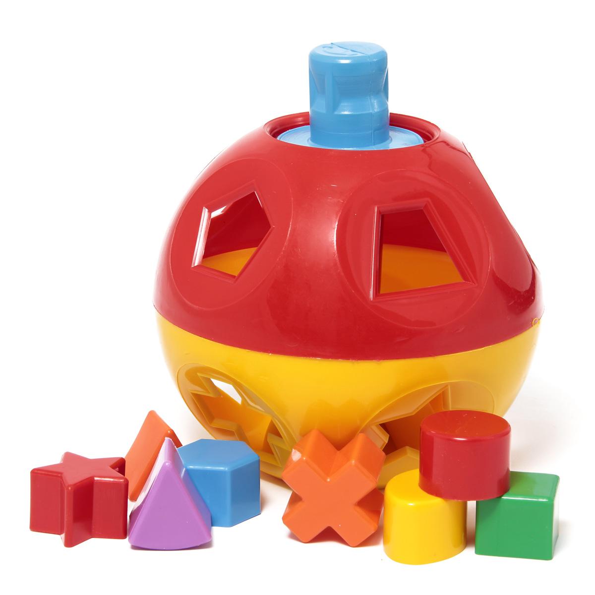 Развивающая игрушка Логический шар Nina/24П-0308Игрушка-головоломка для малышей с фигурами-вкладышами. Развивает цветовосприятие, мелкую моторику рук, логическое мышление и пространственное воображение, знакомит с геометрическими фигурами. Задача ребенка - протолкнуть сквозь отверстия соответствующей формы геометрические фигуры так, чтобы они оказались внутри игрушки.