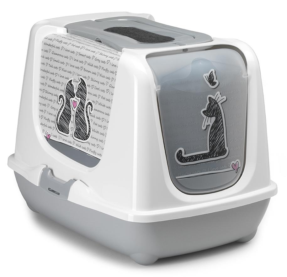 Туалет закрытый для кошек Moderna Trendy Cat. Влюбленные Кошки, 57х45х42,6 см14C245026