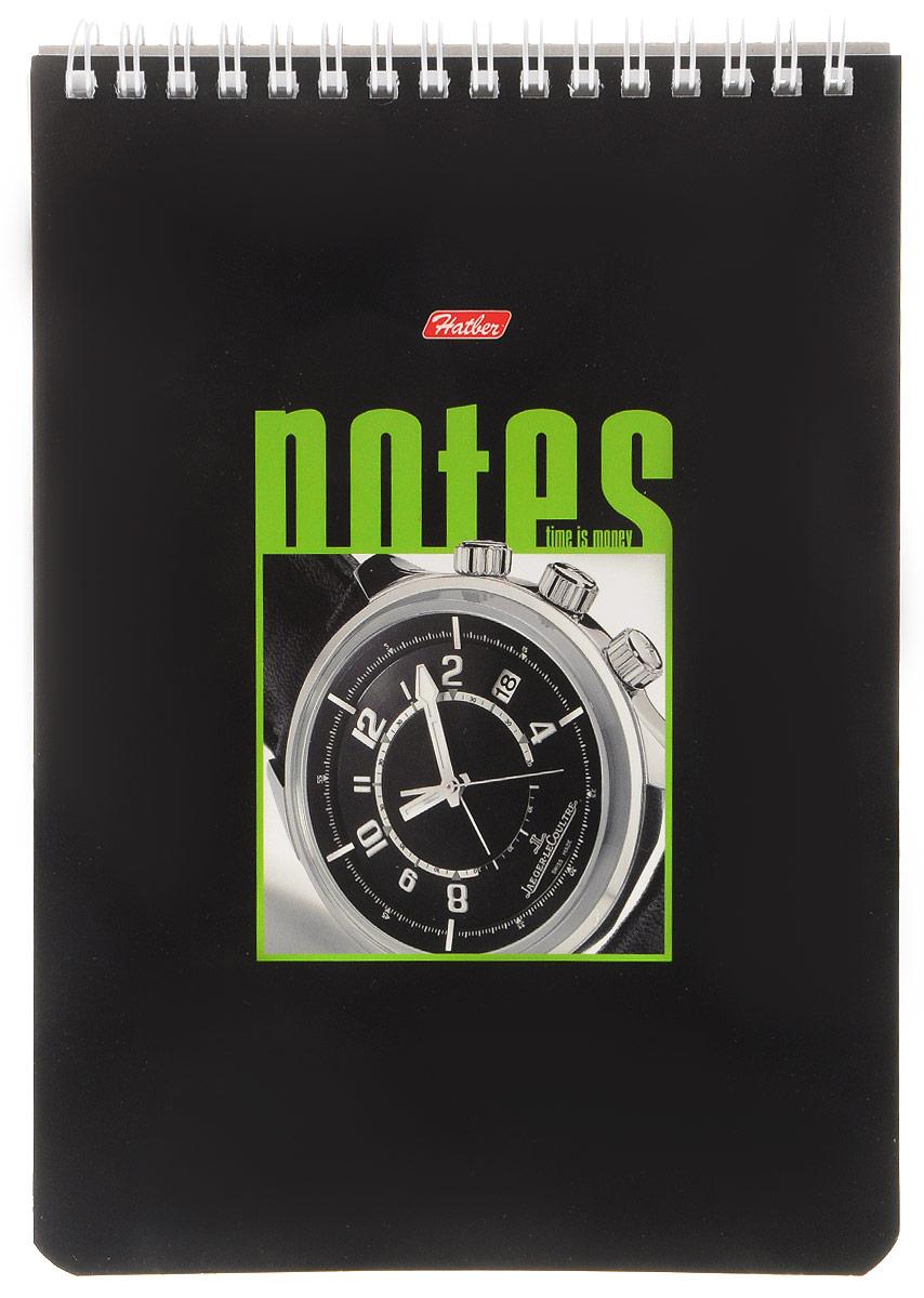 Hatber Блокнот Часы 60 листов в клетку цвет черный зеленый60Б5B1сп_04044Блокнот Hatber Часы - незаменимый атрибут современного человека, необходимый для рабочих и повседневных записей в офисе и дома. Фронтальная часть обложки выполнена из картона и оформлена изображением в виде наручных часов. Тыльная часть обложки выполнена из плотного картона, что позволяет делать записи на весу. Внутренний блок состоит из 60 листов, которые снабжены микроперфорацией и являются отрывными. Стандартная линовка в голубую клетку без полей. Листы блокнота соединены металлическим гребнем.