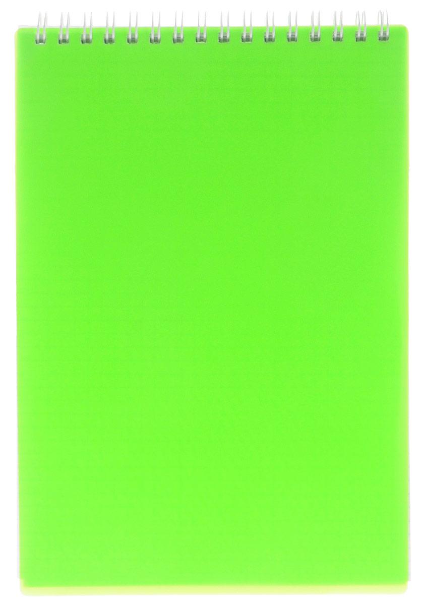 Hatber Блокнот 80 листов в клетку цвет зеленый неон80Б5B1гр_02034Блокнот Hatber - незаменимый атрибут современного человека, необходимый для рабочих и повседневных записей в офисе и дома. Обложка блокнота выполнена из прочного пластика яркого цвета. Внутренний блок блокнота состоит из 80 листов белой бумаги. Стандартная линовка в голубую клетку без полей. Листы блокнота соединены металлическим гребнем.