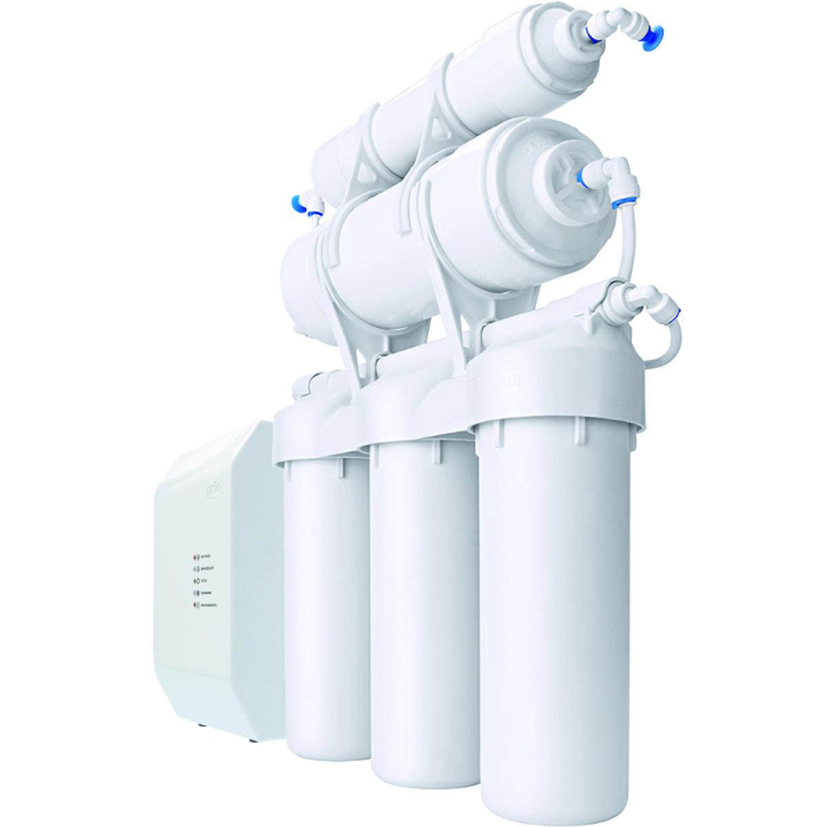 Прямоточная сплит-система обратного осмоса с минерализацией Prio Praktic Osmos Stream. OUD600OUD 600Прямоточная сплит-система обратного осмоса для комплексной очистки питьевой воды с электронным управлением. Прямоточная система обратного осмоса. Прямоточная система с помпой: бак не требуется! В любой момент получите столько воды, сколько вам нужно, а не сколько осталось в баке — до 1800 литров в сутки! Благодаря помпе работает при любом давлении в водопроводе, даже очень низком! Всегда свежая вода, без застоя в накопительном баке Чистейшая, вкусная, безопасная вода: 6 ступеней очистки! Универсальная очистка, умягчение, обезжелезивание, устранение накипи, финишная очистка, минерализация: очистка практически от всех известных загрязнителей, бактерий и вирусов, окончательное решение проблемы накипи Быстросъёмная мембрана обратного осмоса из полимерной пленки производства Toray Industries Inc., Япония Установленные картриджи: K100, K205, K101, K858 (мембрана), K880 Кран для чистой воды керамический шаровый ...