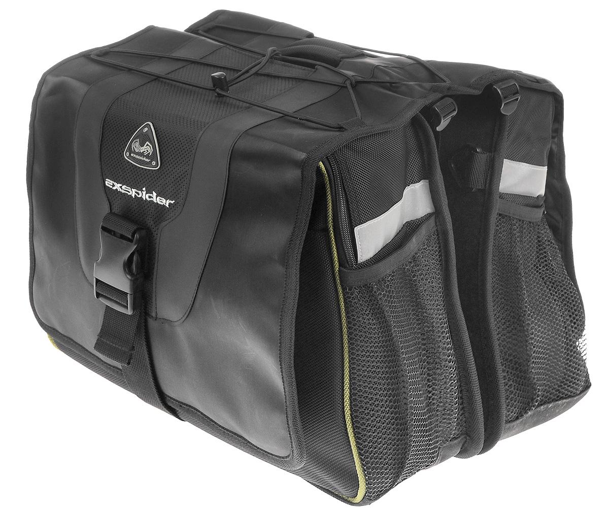 Сумка на багажник велосипеда EXspider, двойная, 36 х 33 х 23 смTB6201Универсальная сумка EXspider крепится на багажник, можно носить ее в руках или на плече. Изделие имеет два больших отделения с внешними карманами. Отделения закрываются на клапан с помощью застежки- молнии и липучки. Также внутри каждого отделения расположен карман на резинке. Подкладка из вспененного полиэтилена предохраняет содержимое от повреждений. Эластичный шнур позволяет закрепить другую небольшую сумку, палатку, спальный мешок, шлем и многое другое. В комплект входит водоотталкивающий чехол от дождя из нейлона и плечевой регулируемый ремень. Внешние сетчатые карманы с каждой из четырех сторон предназначены для небольших вещей. Светоотражающие вставки служат для лучшей заметности в темное время суток. Сумка крепится на багажник с помощью двух шнуров с крючками.