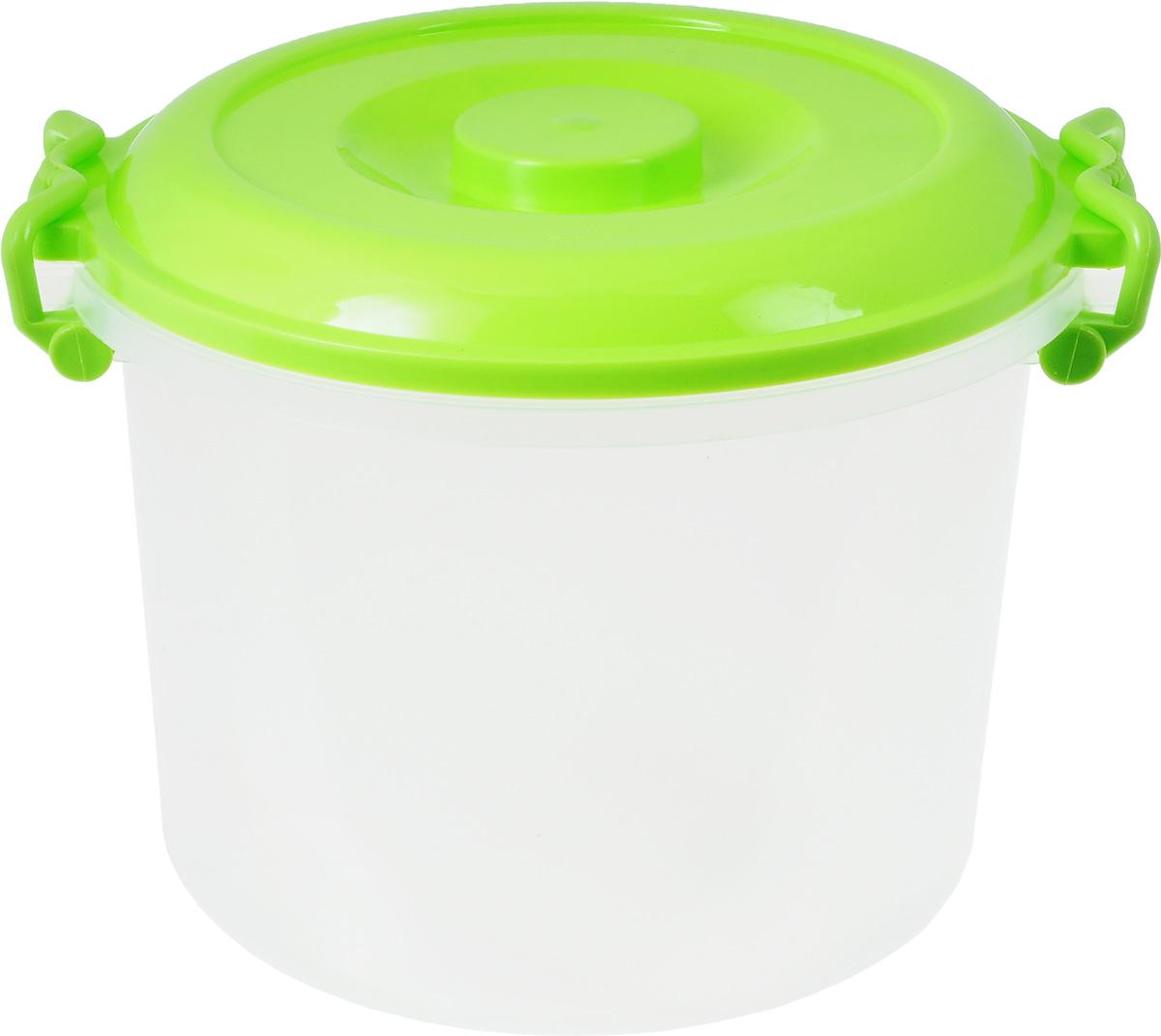 Контейнер Альтернатива, цвет: светло-зеленый, прозрачный, 8 лM098_зеленый, прозрачныйКонтейнер Альтернатива изготовлен из высококачественного пищевого пластика. Изделие оснащено крышкой и ручками, которые плотно закрывают контейнер. Также на крышке имеется ручка для удобной переноски. Емкость предназначена для хранения различных бытовых вещей и продуктов. Такой контейнер очень функционален и всегда пригодится на кухне. Диаметр контейнера (по верхнему краю): 25 см. Высота контейнера (без учета крышки): 21 см. Объем: 8 л.