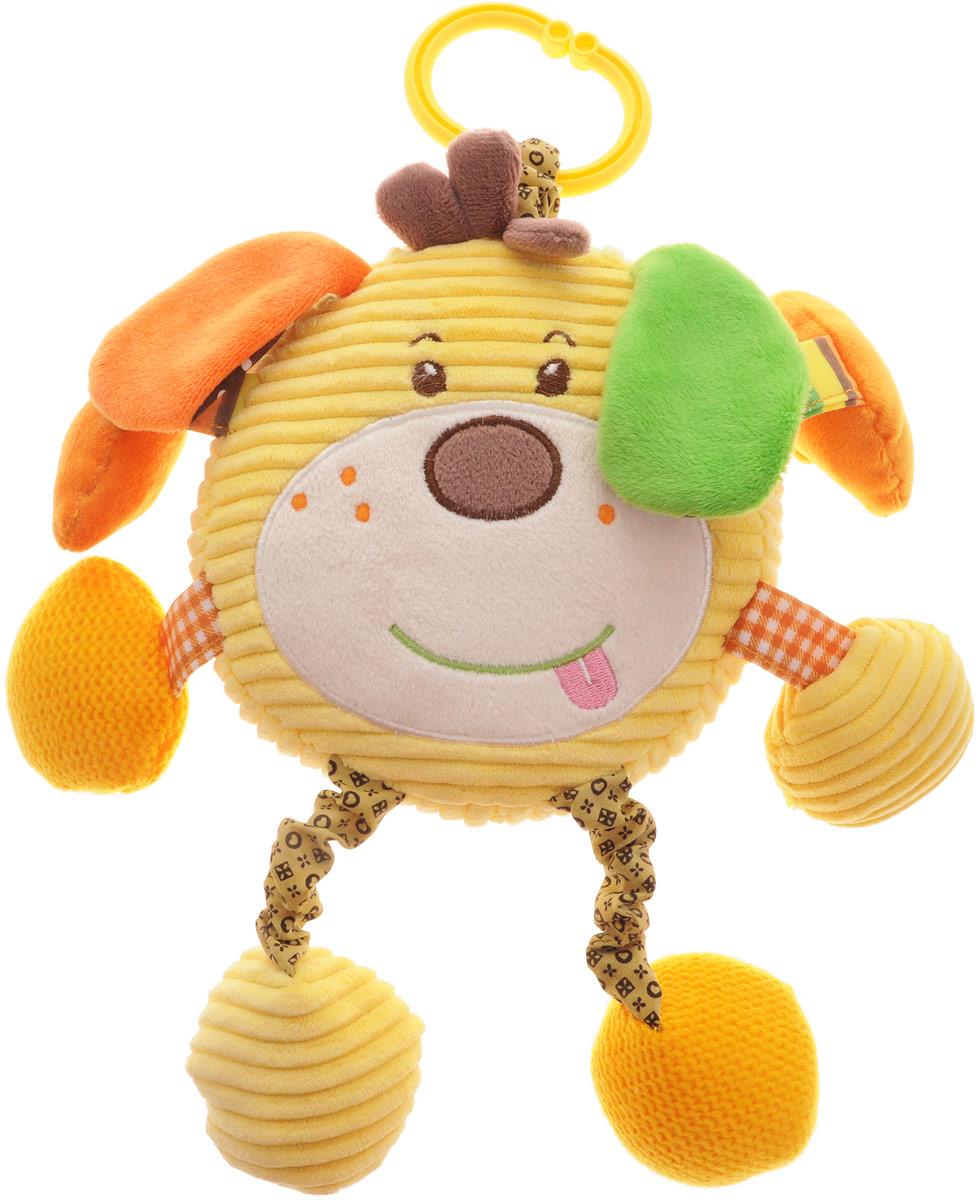 Жирафики Музыкальная игрушка-подвеска Собачка Шарик93597Музыкальная игрушка-подвеска Жирафики Собачка Шарик выполнена из ярких материалов различной фактуры. Как же весело и интересно ее рассматривать! Но держать ее в маленьких ручках еще интереснее, ведь она таит в себе столько приятных сюрпризов и столько удивительных открытий! Если нажать на центр игрушки, то заиграет приятная детская мелодия. В одной лапке у песика находится погремушка, на другой расположено безопасное зеркальце, в котором ребенок может увидеть свое отражение. В других лапках спрятаны шуршащие элементы и пищалка. С помощью пластикового незамкнутого кольца игрушку можно подвесить к кроватке, коляске, автокреслу или игровой дуге малыша. Игрушка-подвеска поможет ребенку в развитии цветового и звукового восприятия, концентрации внимания, мелкой моторики рук, координации движений и тактильных ощущений.