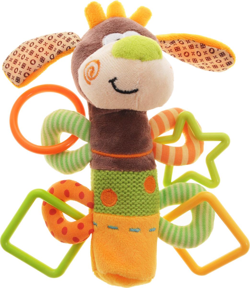 Жирафики Развивающая игрушка-пищалка Щенок93558Развивающая игрушка-пищалка Жирафики Щенок выполнена из текстильных материалов разных цветов и фактур в виде мордочки забавного щенка, которая пришита к мягкой ручке. Внутри ручки спрятана пищалка. Стоит малышу ее сжать, как он услышит забавный звук. У игрушки имеются пластиковые элементы в виде геометрических фигур. Изделие очень удобно для маленьких детских ручек. Малыш сможет ее держать, трясти, перекладывать из одной ручки в другую. Игрушка-пищалка способствует развитию мышления, координации движений, звукового и цветового восприятия, тактильных ощущений, совершенствует моторику нежных пальчиков малыша.