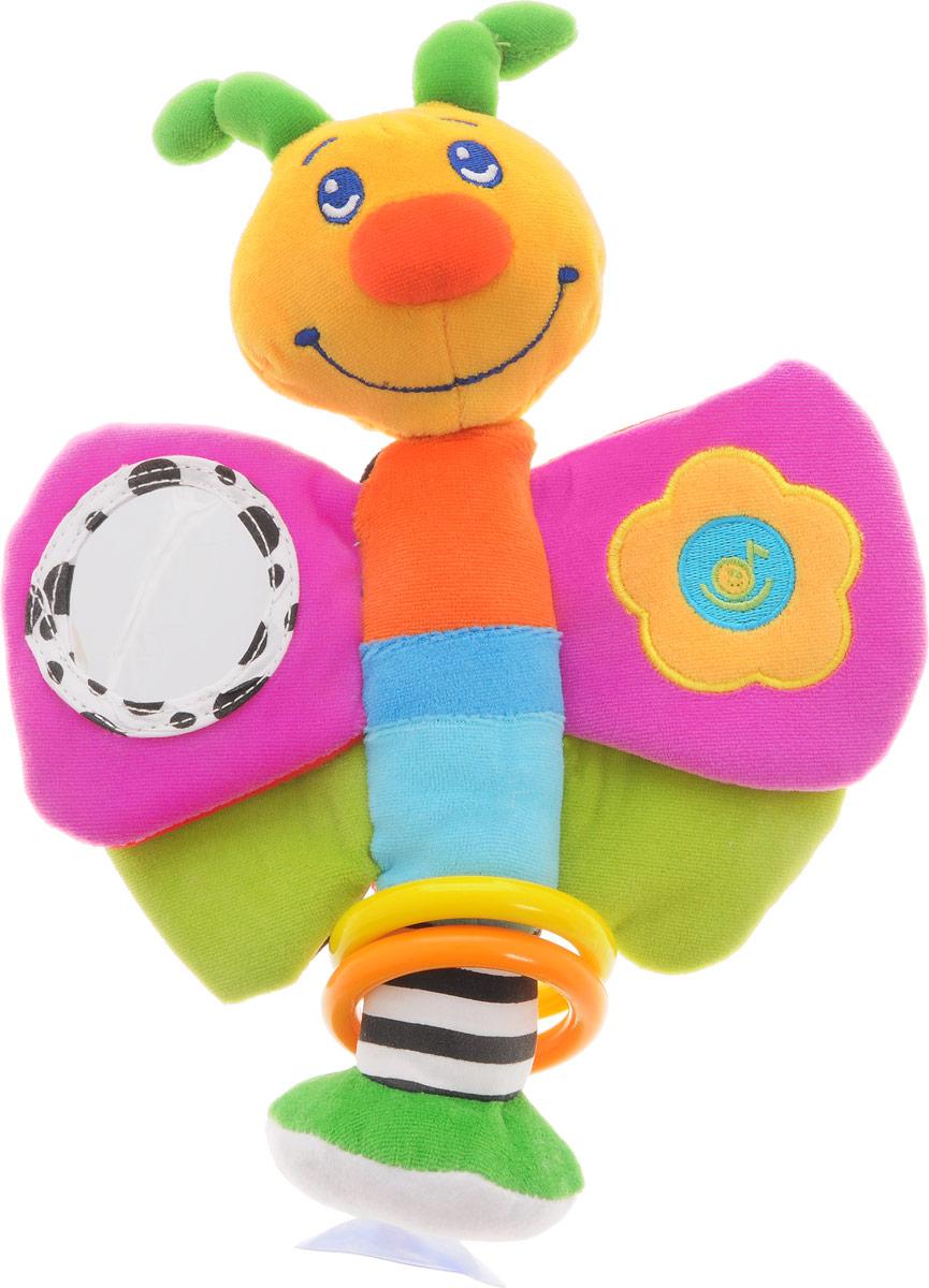 Жирафики Развивающая игрушка Мотылек на присоске93532Яркая развивающая игрушка Жирафики Мотылек привлечет внимание вашего малыша и не позволит ему скучать. Игрушка выполнена из текстильного материала разных цветов и фактур в виде симпатичного мотылька. Спереди мотылек разноцветный, сзади выполнен в черно-бело-красной гамме, что способствует стимуляции зрения ребенка. На одном из крылышек расположено круглое безопасное зеркальце, на другом - кнопка, при нажатии на которую играют мелодии. В нижней шуршащей части крылышек с одной стороны спрятана пищалка, с другой - сфера, гремящая при тряске. На туловище мотылька нанизаны два пластиковых колечка. Благодаря присоске мотылька можно закрепить на любой ровной поверхности. Развивающая игрушка Жирафики Мотылек поможет ребенку развить цветовое и звуковое восприятия, тактильные ощущения, мелкую моторику рук и эмоциональное восприятие.