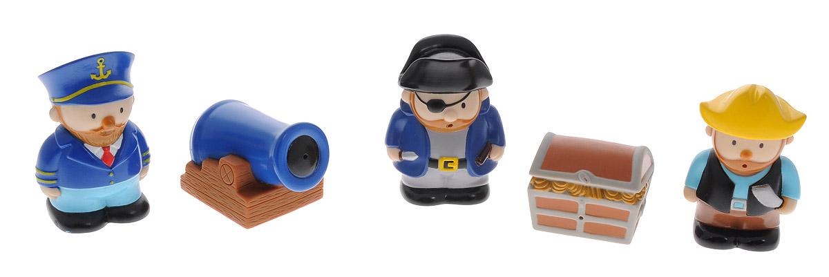 Жирафики Набор игрушек для ванной Пираты 5 шт68822Набор игрушек для ванной Жирафики Пираты понравится вашему малышу и развлечет его во время купания. Игрушки выполнены из безопасного материала в виде трех пиратов, пушки и сундука. Размер игрушки идеален для маленьких ручек малыша. Если сжать игрушку во время купания в ванной, она начинает брызгаться водой. Игрушка способствует развитию воображения, цветового восприятия, тактильных ощущений и мелкой моторики рук.