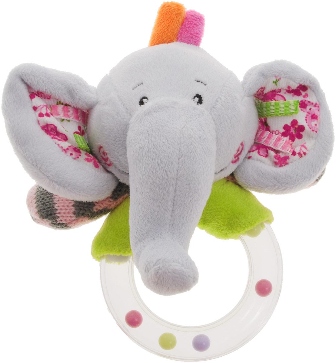Жирафики Погремушка Слон93585Забавная погремушка Жирафики Слон поднимет вашему малышу настроение и непременно вызовет улыбку! Игрушка выполнена из мягкого, приятного на ощупь материала различных фактур в виде слоника. Туловище слоника выполнено в виде пластикового прозрачного кольца, содержащего разноцветные шарики, которые перекатываются и весело гремят при встряхивании игрушки. Игрушка очень удобна для маленьких детских ручек. Малыш сможет ее держать, перекладывать из одной ручки в другую. Игрушка способствует развитию слухового, зрительного и эмоционального восприятия, тактильных ощущений, мелкой моторики.