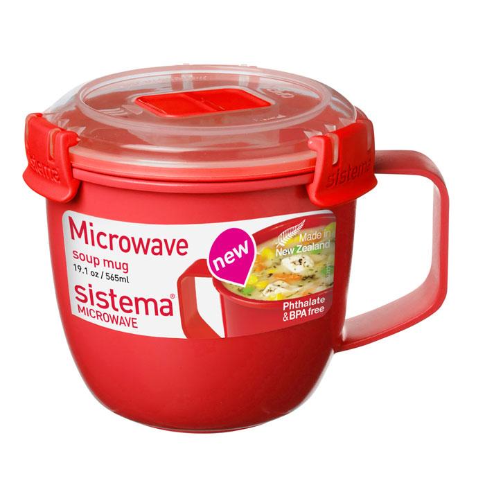 Кружка суповая Sistema MICROWAVE мл1142Кружка суповая Microwave создана для людей ведущих активный образ жизни. Кружка, с надежной защитой от протечек, позволит взять с собой горячий суп на пикник, в офис или в поездку. На крышке имеется прорезиненный обод, который способствует более герметичному закрыванию. Контейнер оснащен фиксирующимися зажимами – клипсами, которые при необходимости можно будет заменить. Можно мыть в посудомоечной машине.