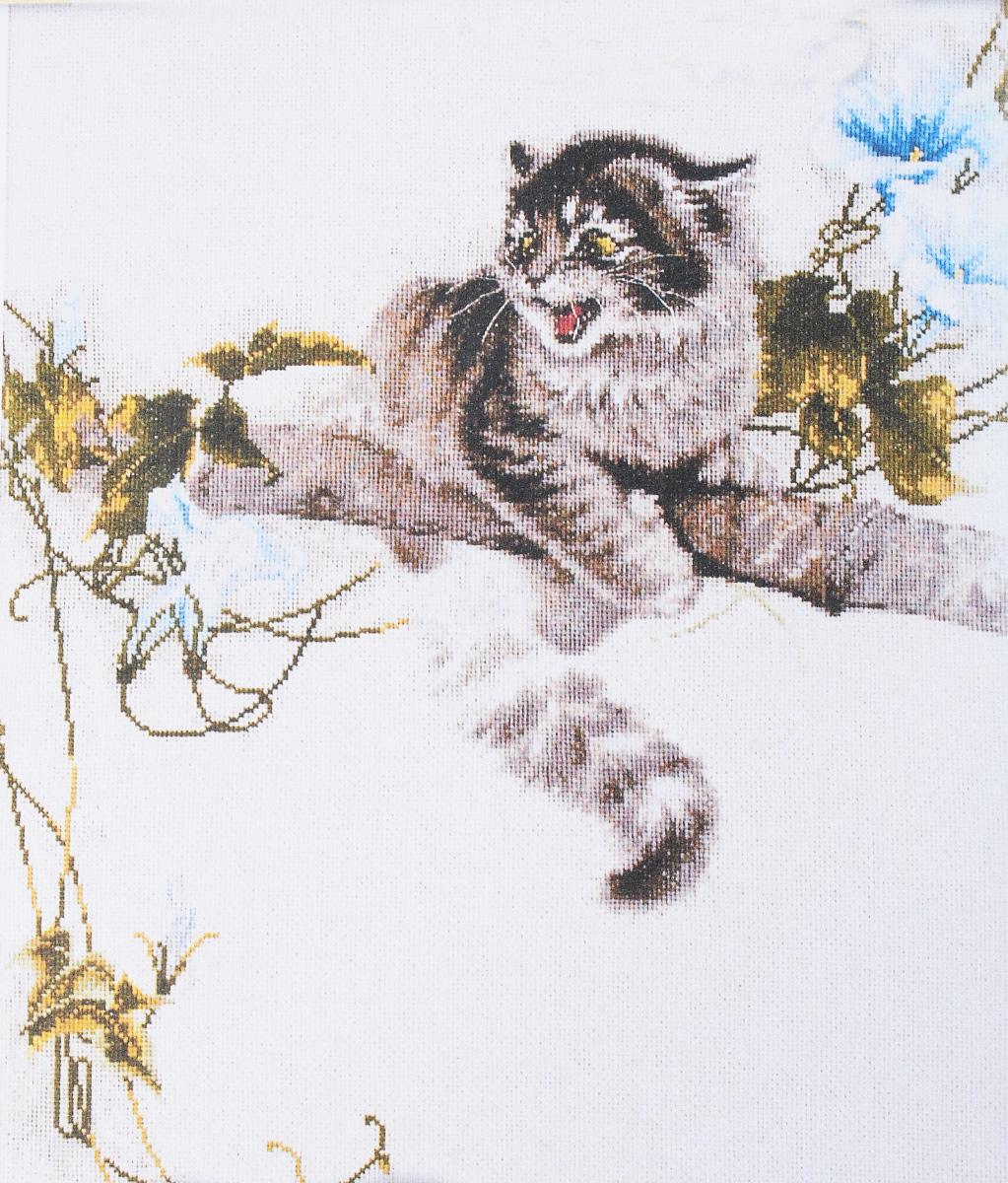 вышивка кот на дереве схема