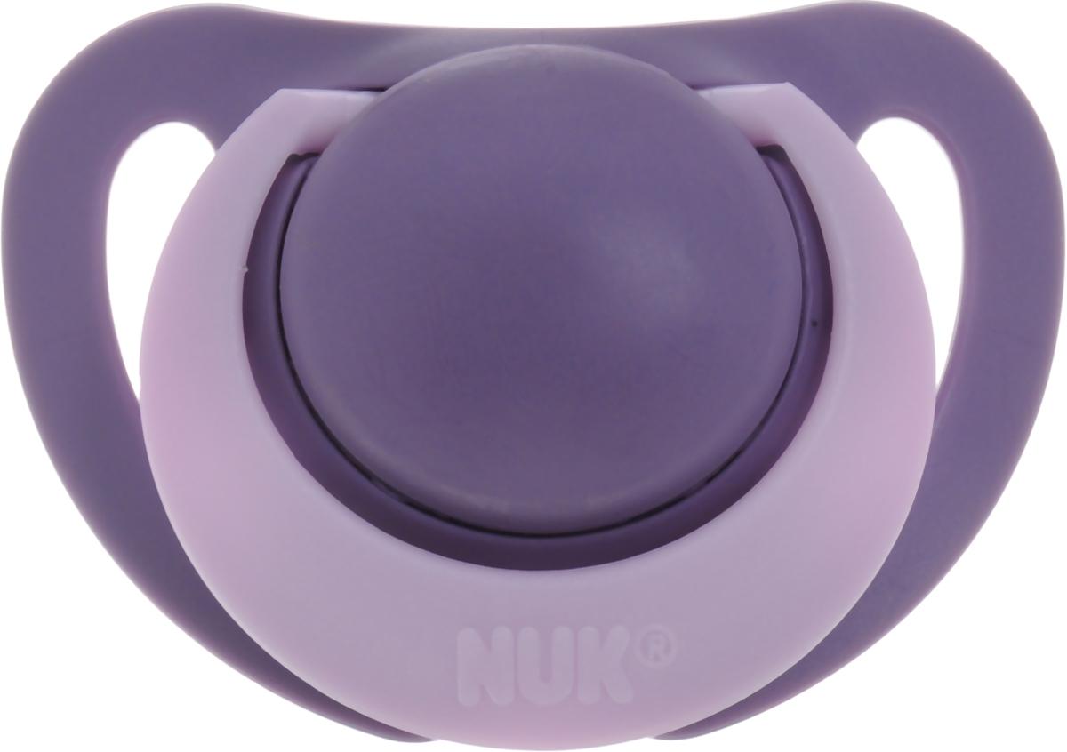 NUK Пустышка силиконовая ортодонтическая Genius от 0 до 2 месяцев цвет фиолетовый сиреневый