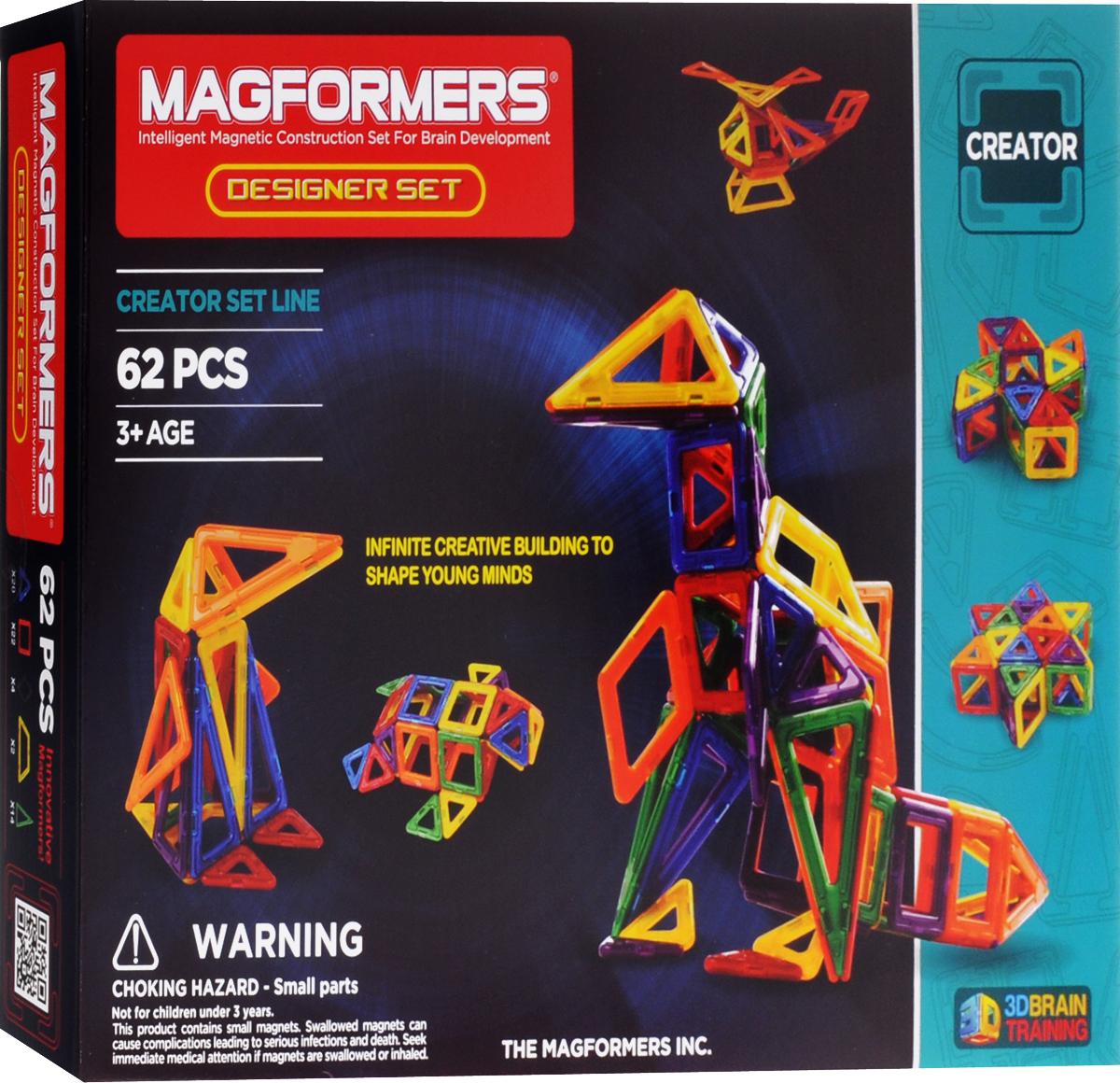 Magformers Магнитный конструктор Designer Set63081/703002Магнитный конструктор Magformers Designer Set предназначен для детей, которые хорошо эрудированы и развиты (возраст не является основным критерием для магнитных конструкторов Magformers). Набор позволяет ребенку строить поистине потрясающие вещи, как из мира техники (самолет, вертолет, кран, экскаватор), так и из мира архитектуры (дома, замки). Возможность замены одних деталей другими (ромб на 2 треугольника, 3 ромба на шестиугольник и так далее) позволяет ребенку изучать и моделировать геометрические фигуры, воплощать оригинальные идеи в жизнь, превращать мир из плоского в объемный. Несмотря на то, что набор ориентирован в первую очередь на более старших детей, малышам он тоже понравится. Как и все другие наборы, он содержит в себе базовые детали - треугольники и квадраты, которых с лихвой хватит для построения всевозможных фигур - домиков, башен, волшебного шара и многого другого. А уже по мере развития вашего ребенка вы сможете добавить ромбы, трапеции и длинные...