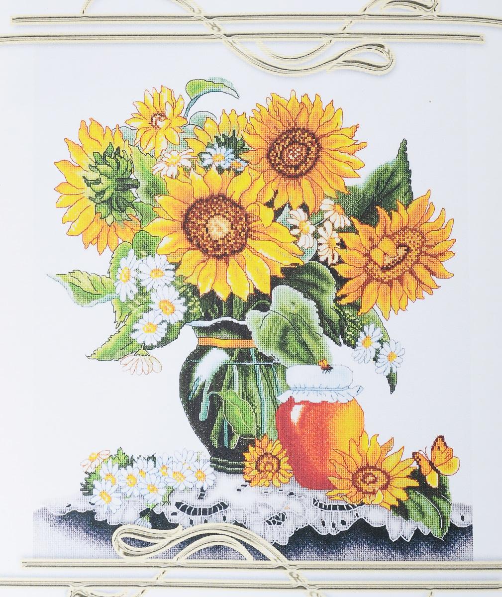 Набор для вышивания крестом Alisena Медовые подсолнухи, 32 х 36 см497030Набор для вышивания крестом Alisena Медовые подсолнухи поможет вам создать свой личный шедевр - красивую картину, вышитую нитками. Красивый и стильный рисунок-вышивка, выполненный на канве, выглядит оригинально и всегда модно. Работа, сделанная своими руками, создаст особый уют и атмосферу в доме и долгие годы будет радовать вас и ваших близких. В наборе есть все необходимое для создания вышивки на канве в технике счетный крест. В набор входит: - канва Аида Zweigart № 16 (белого цвета), - мулине Anchor (39 цветов), - цветная символьная схема, - инструкция на русском языке, - игла. Размер готовой работы: 32 х 36 см. Размер канвы: 46 х 51 см. УВАЖАЕМЫЕ КЛИЕНТЫ! Обращаем ваше внимание, на тот факт, что рамка в комплект не входит, а служит для визуального восприятия товара.