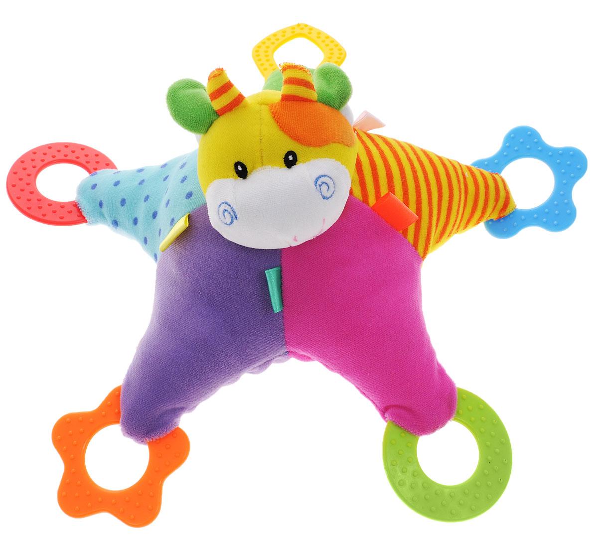 Жирафики Развивающая игрушка Звездочка93660Яркая развивающая игрушка Жирафики Звездочка изготовлена из материалов различной фактуры. Как же весело и интересно ее рассматривать! Но держать ее в маленьких ручках еще интереснее, ведь она таит в себе столько приятных сюрпризов и столько удивительных открытий! У игрушки имеются разноцветные прорезыватели, а внутри звездочки находится погремушка. Прорезыватели рекомендуются малышам, у которых появляются первые зубки. Они помогают снять неприятные болевые ощущения. Игрушка способствует развитию цветовосприятия, звуковосприятия и мелкой моторики рук.