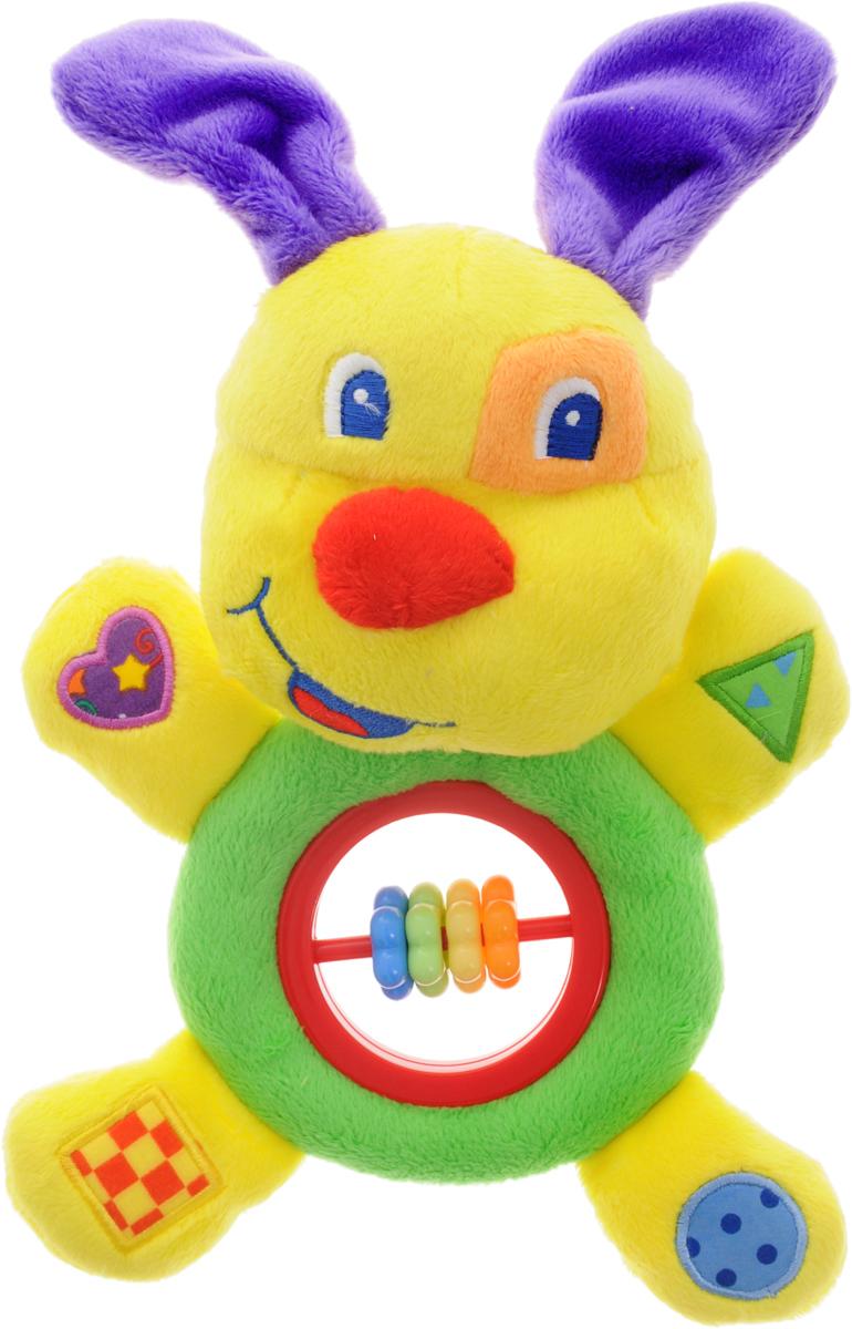 Жирафики Развивающая игрушка Веселый щенок93638Развивающая игрушка Жирафики Веселый щенок изготовлена из ярких материалов различных цветов и фактуры. Как же весело и интересно ее рассматривать! Но держать ее в маленьких ручках еще интереснее, ведь она таит в себе столько приятных сюрпризов и столько удивительных открытий! При нажатии на правую лапку щенок издает забавный писк, в левой лапке находится сфера, гремящая при тряске. В ушках спрятаны шуршащие элементы. В нижней части игрушки расположены элементы с пластиковыми разноцветными элементами. Игрушка способствует развитию цветовосприятия, звуковосприятия и мелкой моторики рук.