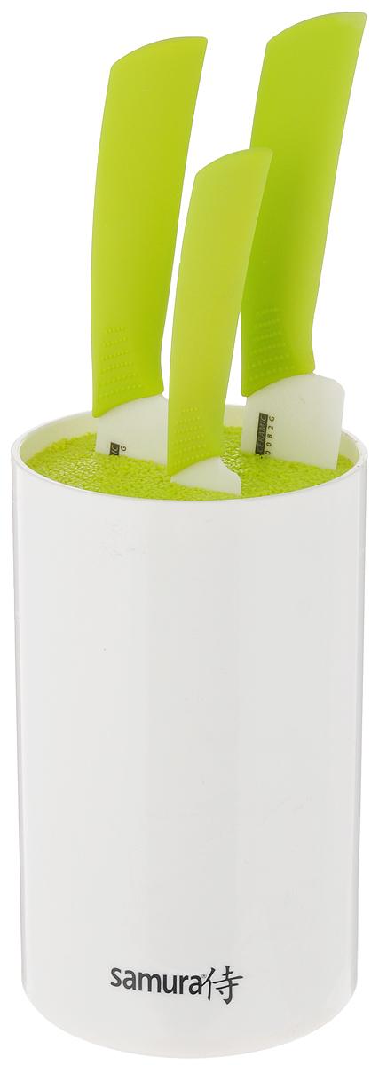 Набор ножей Samura, с подставкой, 4 предметаSKC-004GНабор Samura состоит из двух кухонных поварских ножей, универсального ножа и подставки. Лезвия ножей изготовлены из циркониевой керамики белого цвета - гигиеничного, экологически чистого материала, который не подвергается коррозии. Эргономичная рукоятка из ABS-пластика предотвращает выскальзывание ножа. Острые лезвия долгое время не требуют заточки. Ножи разработаны с учетом современных гигиенических стандартов и служат для предотвращения распространения болезнетворных бактерий, способствуя вашему здоровому питанию. Легкий корпус подставки выполнен из высококачественного пластика. Наполнитель в виде щетки гигиеничен и вынимается без труда. Лезвия ножей при хранении не касаются друг друга, тем самым максимально сохраняя свою остроту. Набор стильно и ярко оформит интерьер кухни, а приготовление пищи станет приятным занятием. Длина лезвия поварского ножа: 17,5 см. Общая длина поварского ножа: 29,5 см. Длина лезвия...