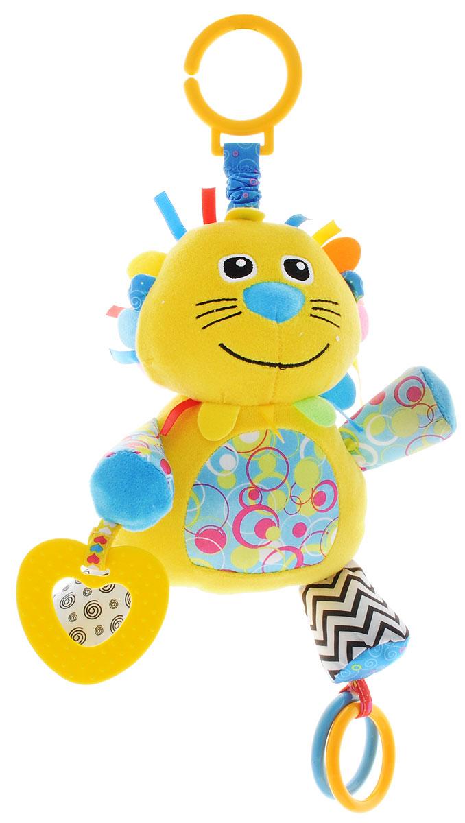 Жирафики Игрушка-подвеска Львенок 9387993879Яркая игрушка-подвеска Жирафики Львенок выполнена из материалов различной фактуры в виде очаровательного львенка. Как же весело и интересно ее рассматривать! Но держать ее в маленьких ручках еще интереснее, ведь она таит в себе столько приятных сюрпризов и столько удивительных открытий! В лапах львенка спрятаны шуршащие элементы; разноцветные колечки, прикрепленные к игрушке, можно перебирать руками. Прорезыватель поможет снять боль при появлении первых зубов вашего малыша. Внутри игрушки находится погремушка. С помощью пластикового незамкнутого кольца игрушку можно подвесить к кроватке, коляске, автокреслу или игровой дуге малыша. Игрушка-подвеска поможет ребенку в развитии цветового и звукового восприятия, концентрации внимания, мелкой моторики рук, координации движений и тактильных ощущений.