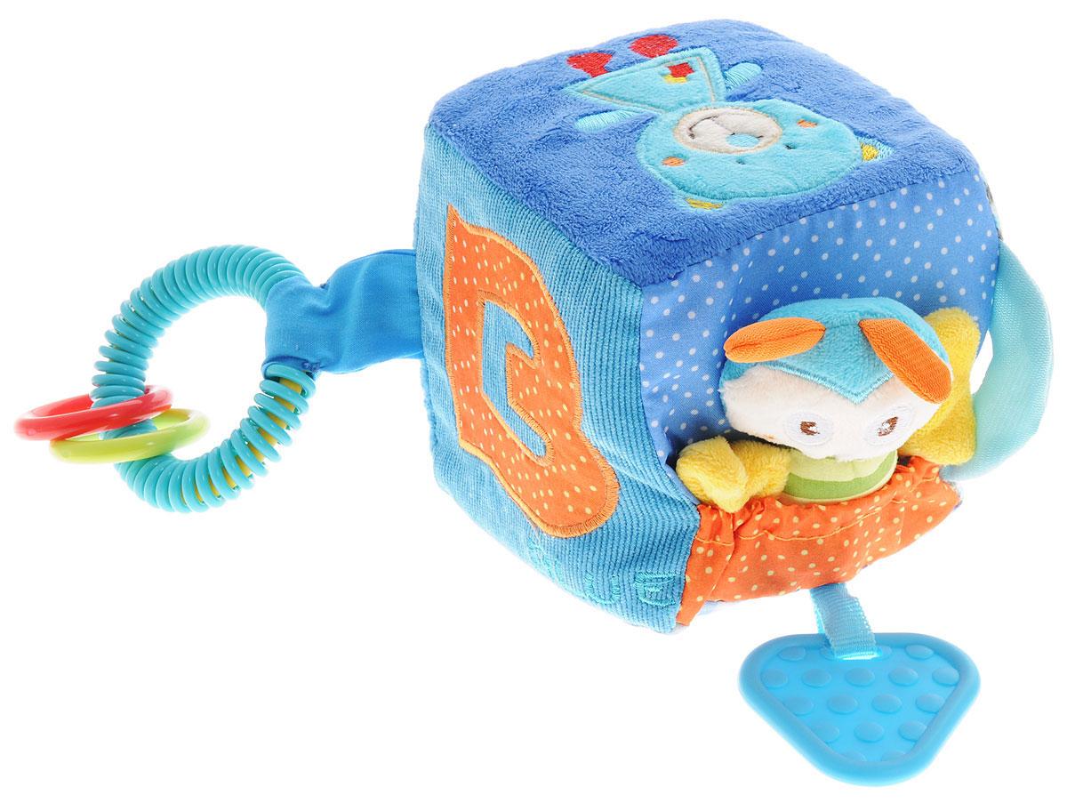 Жирафики Развивающая игрушка Кубик93835Развивающая игрушка Жирафики Кубик поднимет вашему малышу настроение и непременно вызовет улыбку! Игрушка выполнена из мягкого, приятного на ощупь материала различных фактур в виде куба. На каждой стороне куба находятся определенные развивающие элементы: шуршащие вставки, пищалка в виде пчелки, прорезыватель, два текстильных тянущихся шнурочка, небольшой карман на резинке, пластиковые кольца, небольшое зеркальце. Эта чудесная игрушка способствует развитию слухового, зрительного и эмоционального восприятия, тактильных ощущений, мелкой моторики, внимания, наглядно-действенного мышления.