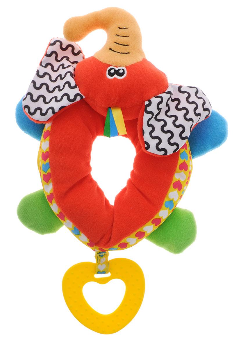 Жирафики Развивающая игрушка Браслет на ножку Слон93933Развивающая игрушка Жирафики Браслет на ножку Слон - это игрушка-сюрприз, так как внутри нее спрятаны погремушка и шуршалки. Если надеть браслет на ножку малыша, он обязательно заинтересуется, ведь он выполнен из ярких разноцветных материалов и напоминает забавного слоника. Малыш с увлечением будет рассматривать его хобот, ушки и лапки. К браслету прикреплен прорезыватель в виде желтого сердечка.