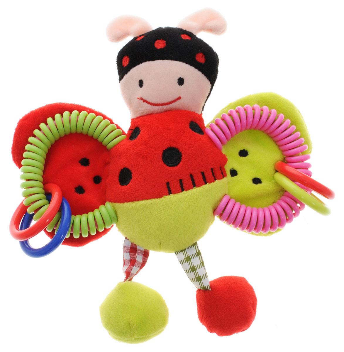 Жирафики Развивающая игрушка Божья коровка93852Яркая развивающая игрушка Жирафики Божья коровка изготовлена из материалов различной фактуры. Как же весело и интересно ее рассматривать! Но держать ее в маленьких ручках еще интереснее, ведь она таит в себе столько приятных сюрпризов и столько удивительных открытий! У игрушки имеются колечки и пружинки. Крылышки оснащены шуршащими элементами. При встряхивании божья коровка издает забавный звук. Игрушка способствует развитию цветовосприятия, звуковосприятия и мелкой моторики рук.