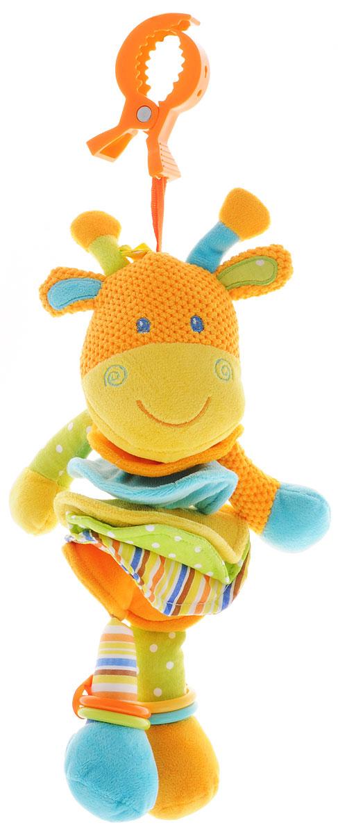 Жирафики Музыкальная игрушка-подвеска Жираф93838Музыкальная игрушка-подвеска Жирафики Жираф выполнена из материалов различной фактуры в виде подвески-растяжки. Как же весело и интересно ее рассматривать! Но держать ее в маленьких ручках еще интереснее, ведь она таит в себе столько приятных сюрпризов и столько удивительных открытий! На ножках жирафа имеются разноцветные пластиковые колечки. К игрушке крепится текстильная веревочка. Если потянуть вниз за прорезыватель, то ваш малыш будет слушать колыбельную до тех пор, пока веревочка не вернется в исходное положение. С помощью пластикового зажима игрушку можно подвесить к кроватке, коляске, автокреслу или игровой дуге малыша. Игрушка-подвеска поможет ребенку в развитии цветового и звукового восприятия, концентрации внимания, мелкой моторики рук, координации движений и тактильных ощущений.