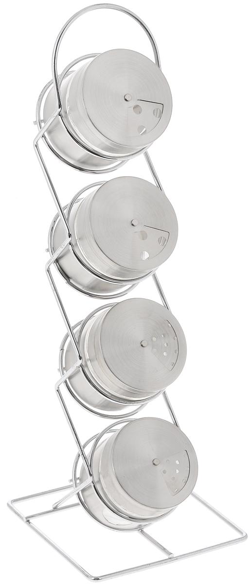 Набор банок для специй Loraine, на подставке, 5 предметов23476Банки для специй Loraine изготовлены из высококачественной нержавеющей стали и стекла. Специальная подставка делает хранение баночек еще более удобным. Банки оснащены плотно закрывающимися стальными крышками с клапаном, закрывающим отверстия. Оригинальные баночки для специй сохранят свежесть и вкус ваших специй. Наслаждайтесь приготовлением пищи с набором для специй Loraine. Диаметр емкости (по верхнему краю): 6 см. Высота емкости: 6 см. Высота подставки: 36 см.