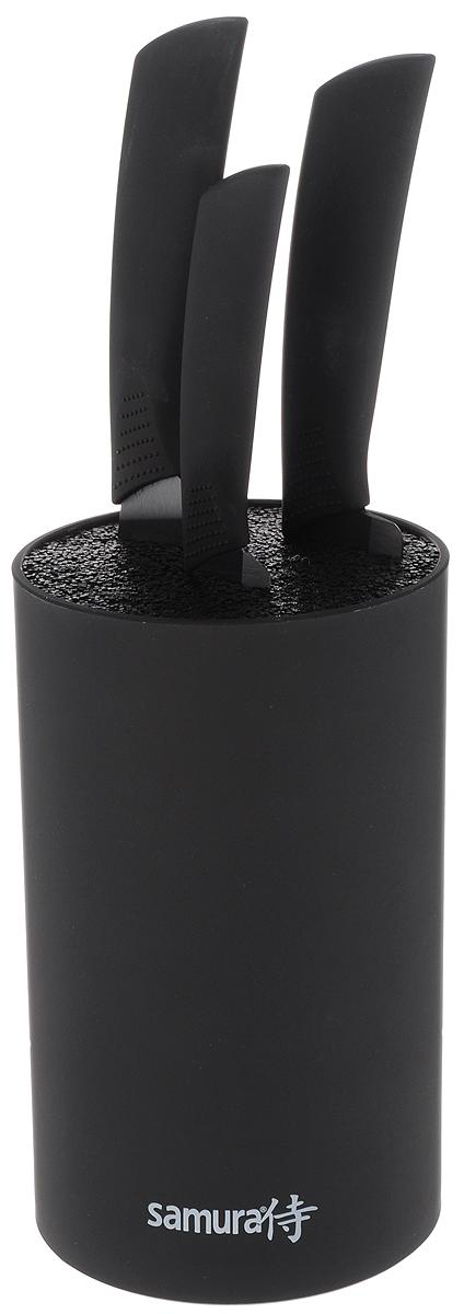 Набор ножей Samura, с подставкой, 4 предмета. SKC-004BSKC-004BНабор Samura состоит из двух кухонных поварских ножей, универсального ножа и подставки. Лезвия ножей изготовлены из циркониевой керамики - гигиеничного, экологически чистого материала, который не подвергается коррозии. Эргономичная рукоятка из ABS-пластика предотвращает выскальзывание ножа. Острые лезвия долгое время не требуют заточки. Ножи разработаны с учетом современных гигиенических стандартов и служат для предотвращения распространения болезнетворных бактерий, способствуя вашему здоровому питанию. Легкий корпус подставки выполнен из высококачественного пластика. Наполнитель в виде стержней гигиеничен и вынимается без труда. Лезвия ножей при хранении не касаются друг друга, тем самым максимально сохраняя свою остроту. Набор стильно оформит интерьер кухни, а приготовление пищи станет приятным занятием. Длина лезвий поварских ножей: 14,5, 17,5 см. Общая длина поварских ножей: 27 см, 29,5 см. Длина лезвий...