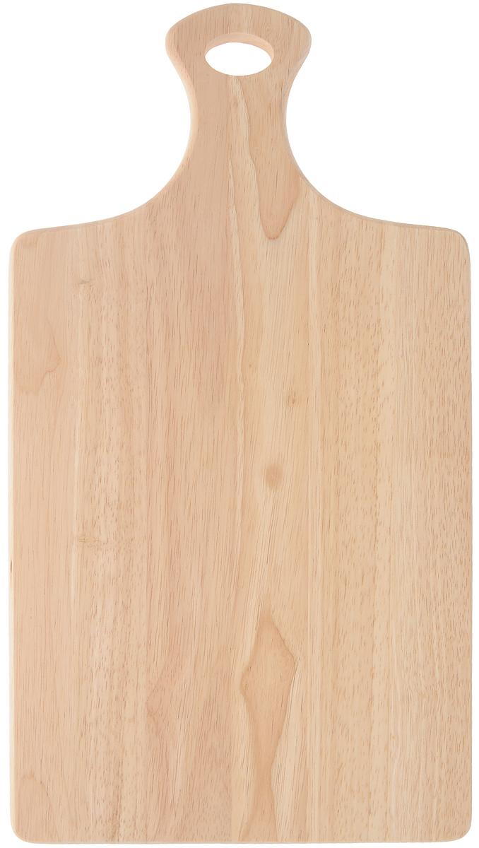 Доска разделочная Kesper, с ручкой, 44 х 24 см6000-7Разделочная доска Kesper, изготовленная из каучукового твердого дерева, оснащена удобной ручкой с отверстием для подвешивания. Благодаря удобной форме и небольшому размеру, изделие позволяет экономить место на кухне. Функциональная и простая в использовании разделочная доска Kesper прекрасно впишется в интерьер любой кухни и прослужит вам долгие годы. Для мытья использовать неабразивные моющие средства. Размер доски (с учетом ручки): 44 х 24 х 1,5 см. Длина ручки: 12 см.
