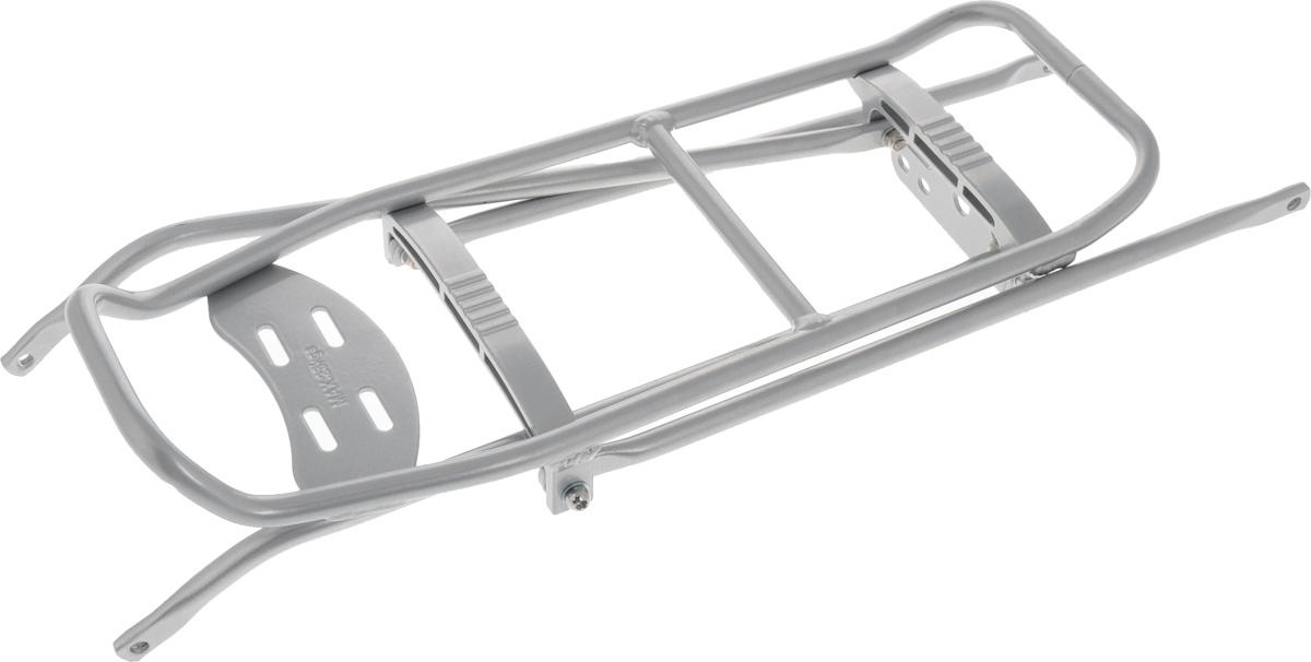 Багажник на велосипед Massload, цвет: матовый серебристый. CL-614CL-614 sil/12005Сборный велосипедный багажник Massload - это незаменимый аксессуар для любителей велосипедного туризма. Он с легкостью собирается с помощью монтажного комплекта и устанавливается на заднюю часть рамы. Багажник выполнен из высококачественного сплава, его вес составляет чуть меньше 800 грамм, при этом его максимальная грузоподъемность достигает 25 килограмм.