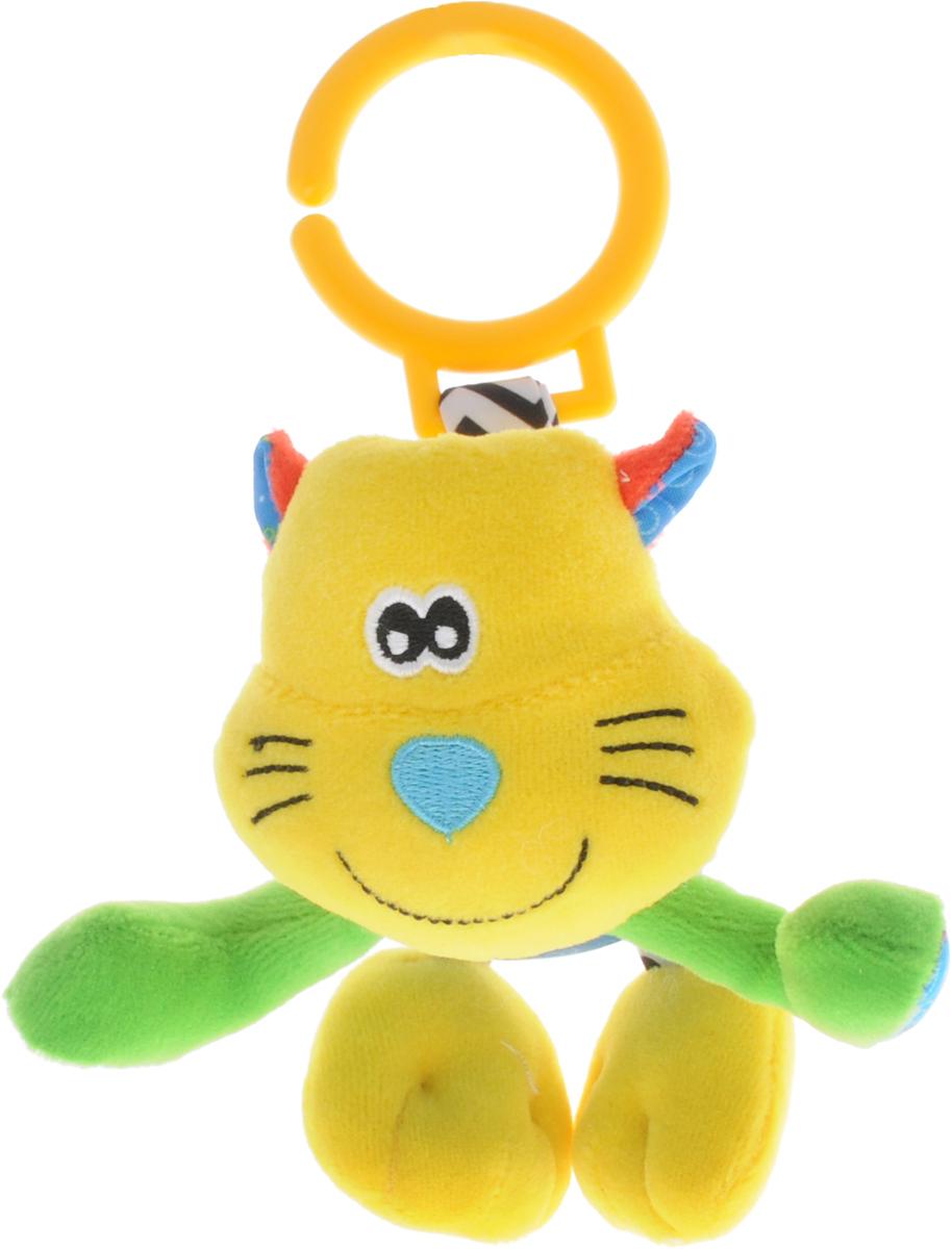 Жирафики Погремушка Котенок93935Забавная развивающая игрушка- погремушка Жирафики Котенок поднимет вашему малышу настроение и непременно вызовет улыбку! Игрушка выполнена из мягкого, приятного на ощупь материала различных фактур в виде милого котенка. Внутри игрушки находится погремушка, которая весело гремит при встряхивании. С помощью пластикового кольца на резинке игрушка может крепиться к кроватке или коляске. Игрушка очень удобна для маленьких детских ручек. Малыш сможет ее держать, перекладывать из одной ручки в другую. Игрушка способствует развитию слухового, зрительного и эмоционального восприятия, тактильных ощущений, мелкой моторики.