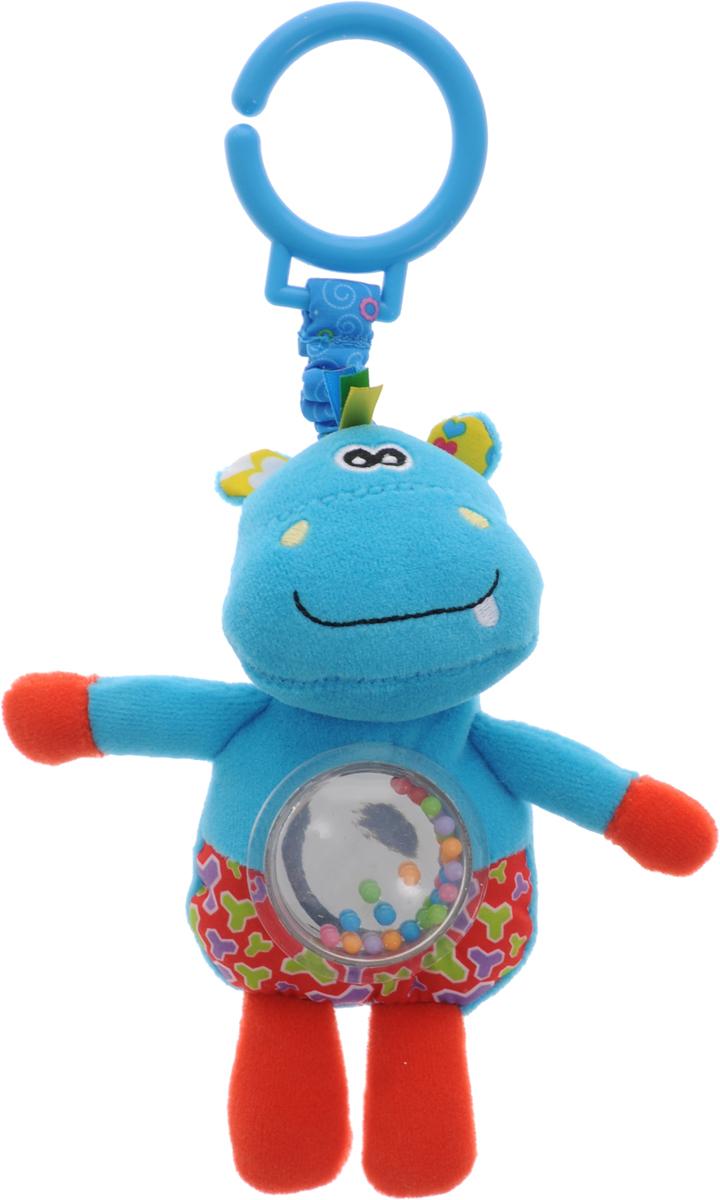 Жирафики Игрушка-подвеска Бегемотик 9393693548Забавная развивающая игрушка-подвеска Жирафики Бегемотик поднимет вашему малышу настроение и непременно вызовет улыбку! Игрушка выполнена из мягкого, приятного на ощупь материала различных фактур в виде милого бегемотика. Ушки бегемотика шуршат при надавливании. В животике игрушки находятся маленькие разноцветные шарики, которые весело гремят при встряхивании. С помощью пластикового кольца на резинке игрушка может крепиться к кроватке или коляске. Игрушка очень удобна для маленьких детских ручек. Малыш сможет ее держать, перекладывать из одной ручки в другую. Игрушка способствует развитию слухового, зрительного и эмоционального восприятия, тактильных ощущений, мелкой моторики.
