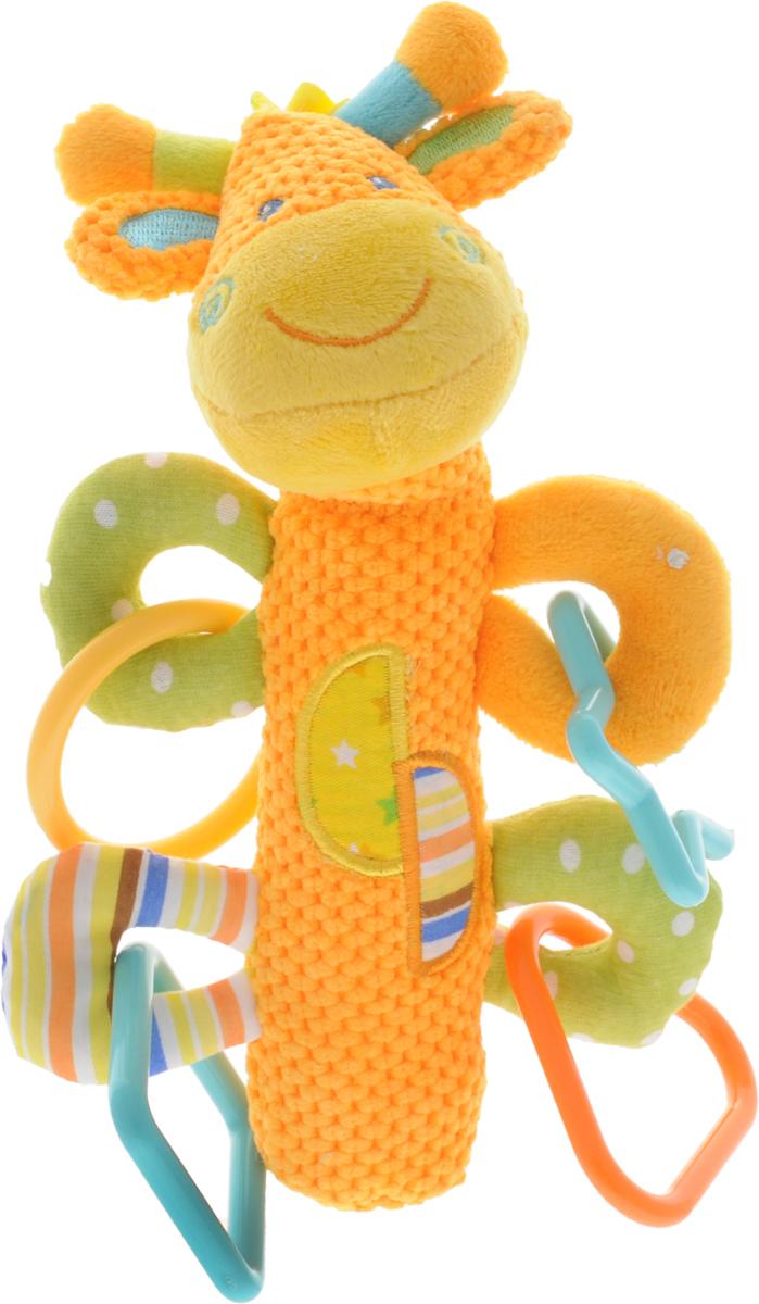 Жирафики Развивающая игрушка-пищалка Жирафик93817Забавная развивающая игрушка-пищалка Жирафики Жирафик поднимет вашему малышу настроение и непременно вызовет улыбку! Игрушка выполнена из мягкого, приятного на ощупь материала различных фактур в виде головы жирафа и длинной округлой ножки- держателя. Внутри ножки находится пищалка. Стоит малышу нажать на игрушку, как он услышит забавный звук. К лапкам-колечкам игрушки крепятся четыре пластиковых фигурки. Игрушка очень удобна для маленьких детских ручек. Малыш сможет ее держать, перекладывать из одной ручки в другую. Игрушка способствует развитию слухового, зрительного и эмоционального восприятия, тактильных ощущений, мелкой моторики.