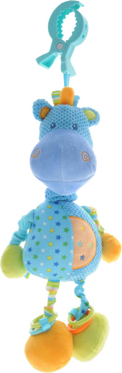 Жирафики Музыкальная игрушка-подвеска Бегемотик93871Музыкальная игрушка-подвеска Жирафики Бегемотик поднимет вашему малышу настроение и непременно вызовет улыбку! Игрушка выполнена из мягкого, приятного на ощупь материала различных фактур в виде смешного бегемотика. Верхние лапки бегемотика шуршат при надавливании. В одной нижней лапке встроена погремушка, в другой - пищалка. При потягивании за туловище бегемотика начинает играть колыбельная мелодия. Все лапки игрушки пришиты на резинках. Резинки нижних лапок содержат по два пластиковых кольца, которые весело гремят при встряхивании. С помощью пластиковой прищепки игрушка может легко крепиться к кроватке или коляске. Игрушка способствует развитию слухового, зрительного и эмоционального восприятия, тактильных ощущений, мелкой моторики.