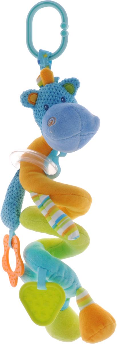 Жирафики Игрушка-подвеска Бегемотик 9382993829Забавная развивающая игрушка-подвеска Жирафики Бегемотик поднимет вашему малышу настроение и непременно вызовет улыбку! Игрушка выполнена из мягкого, приятного на ощупь материала различных фактур в виде бегемотика. Тело игрушки в виде пружинки можно растягивать над кроваткой малыша. Игрушка имеет пластиковое прозрачное кольцо с разноцветными шариками, которые свободно перекатываются и гремят при встряхивании, а также два прорезывателя, прикрепленных к лапке и хвостику бегемотика. Прорезыватели успокоят боль в деснах во время появления первых зубов. С помощью пластикового кольца на резинке игрушка может крепиться к кроватке или коляске. Игрушка способствует развитию слухового, зрительного и эмоционального восприятия, тактильных ощущений, мелкой моторики.